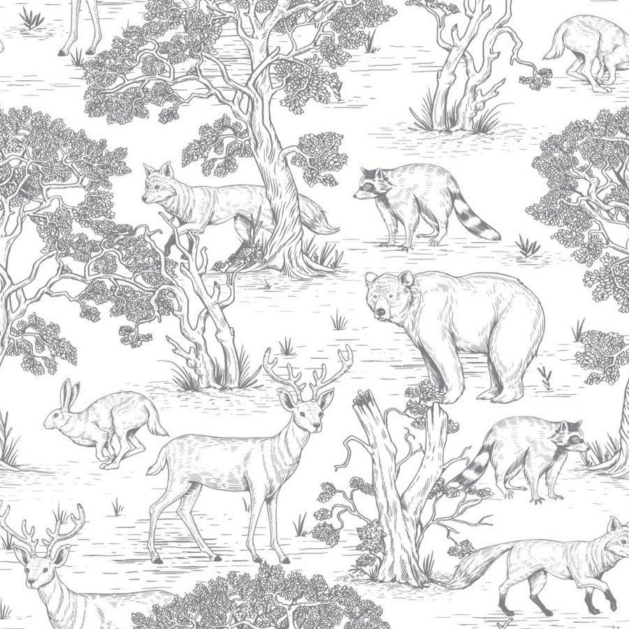 Papier Peint Animaux De La Forêt (Noir Et Blanc) encequiconcerne Image D Animaux De La Foret
