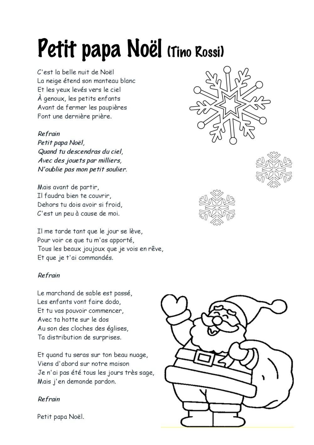 Paroles Chansons De Noël | Bdrp | Chanson De Noel, Chanson tout Papa Noel Parole