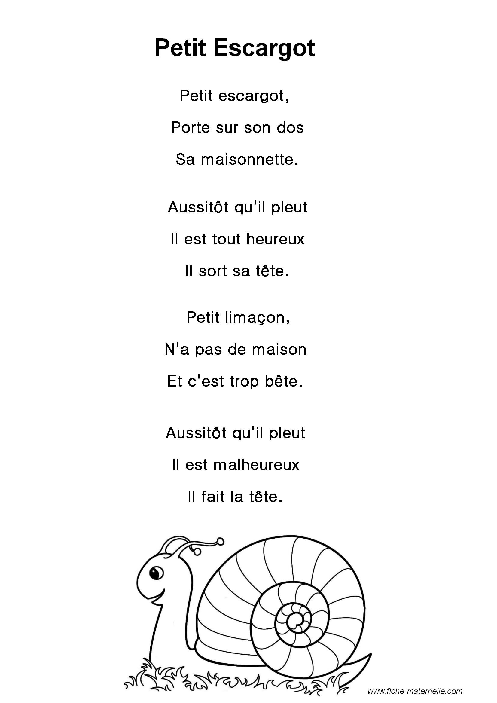 """Paroles De La Chanson """"petit Escargot"""" avec Chanson A Imprimer"""