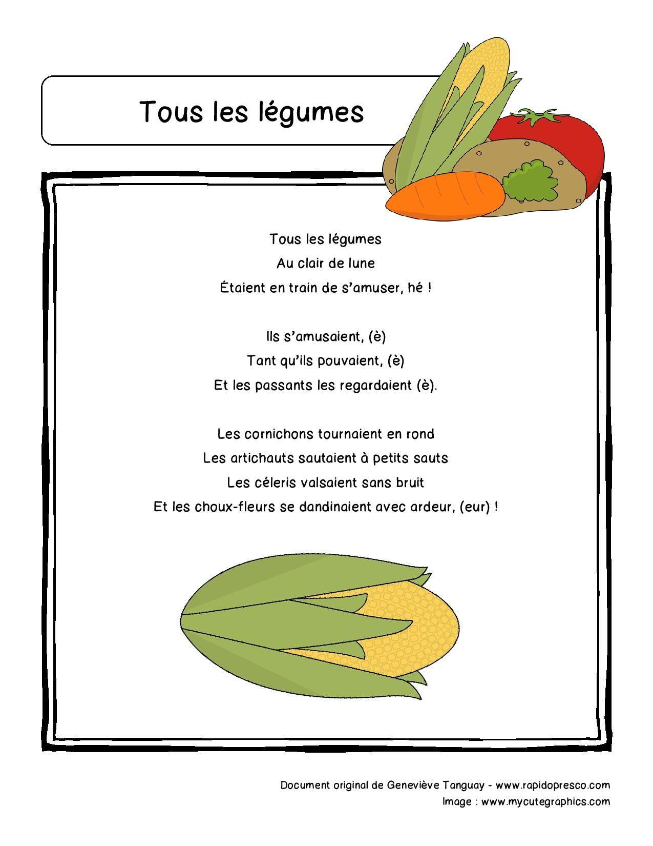Paroles De La Comptine « Tous Les Légumes » – Rapido-Présco pour Chanson Sur Les Fruits Et Légumes