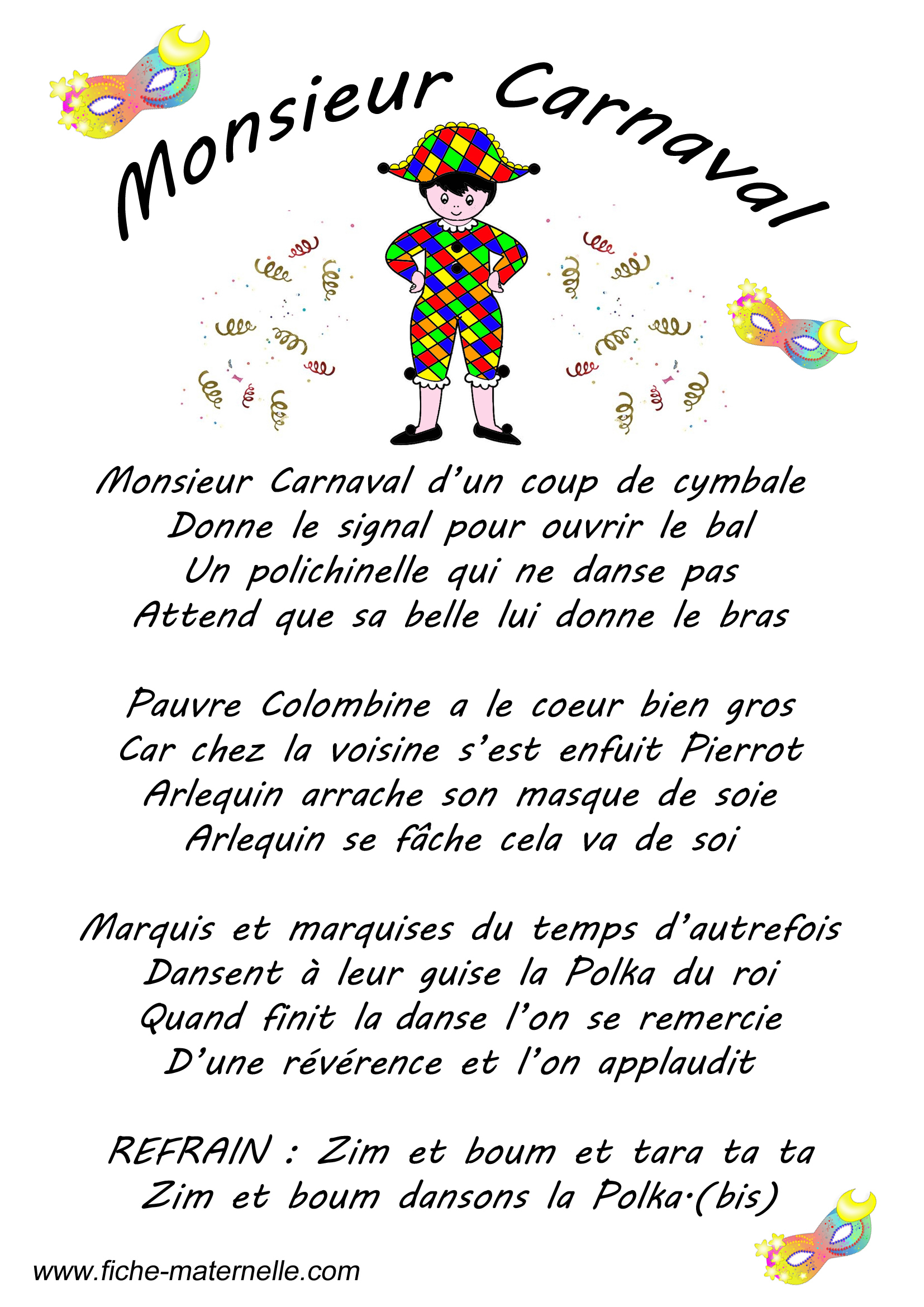 Paroles D'une Chanson Sur Le Thème Du Carnaval : Monsieur destiné Chanson A Imprimer