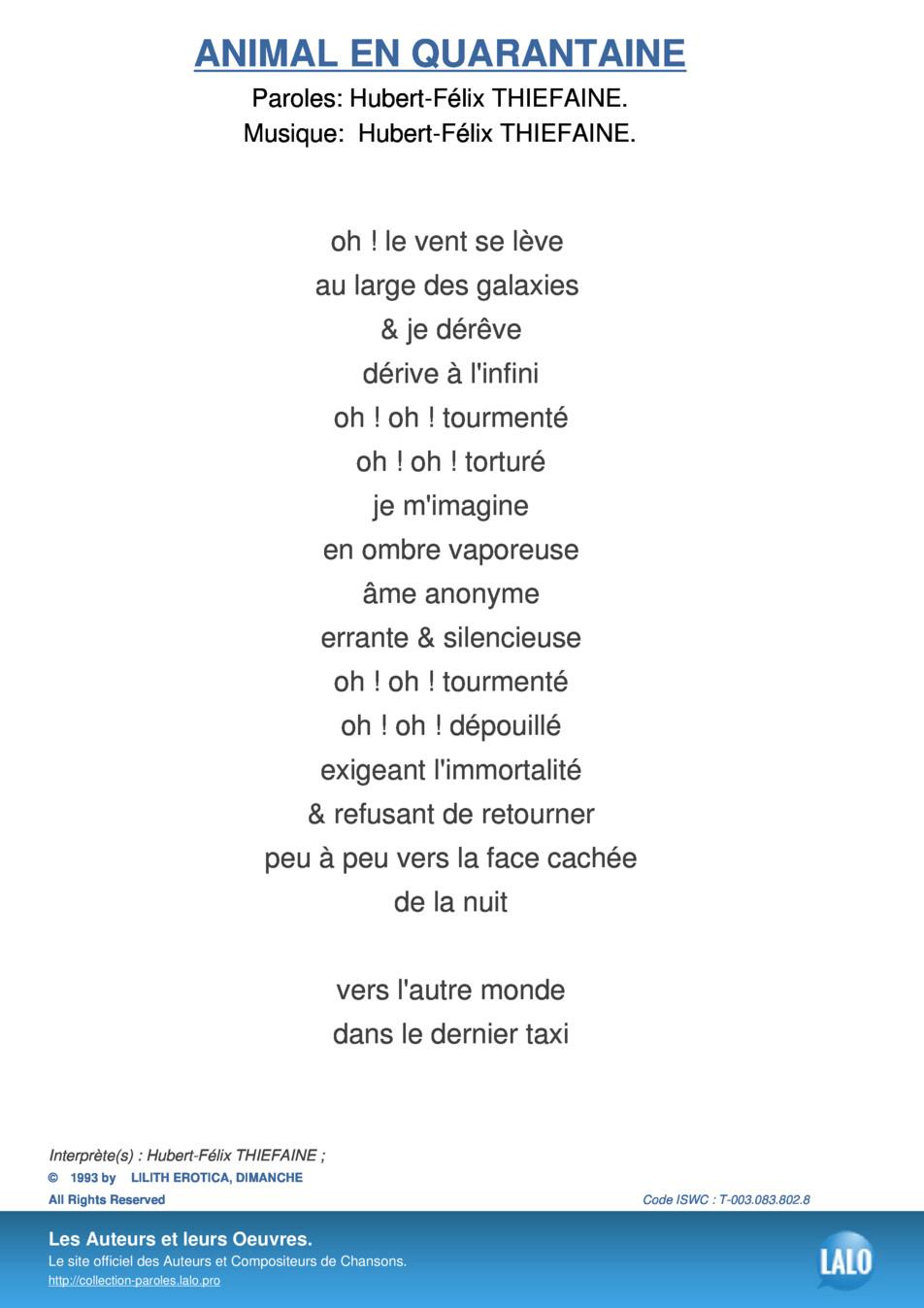 Paroles Et Musique De Animal En Quarantaine Hubert-Félix tout Chanson Pour Les Animaux