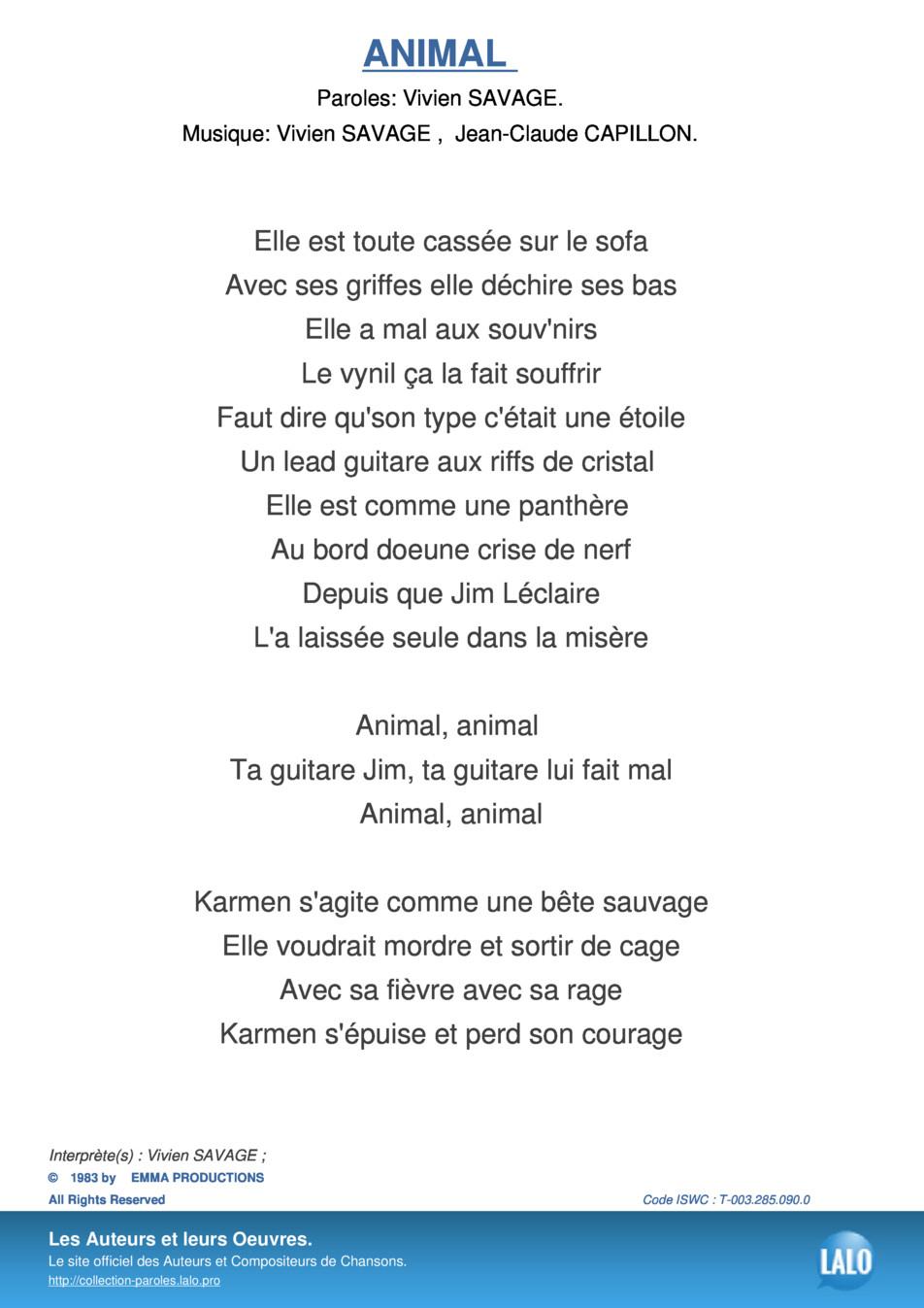 Paroles Et Musique De Animal Vivien Savage - Lalo.pro concernant Chanson Pour Les Animaux