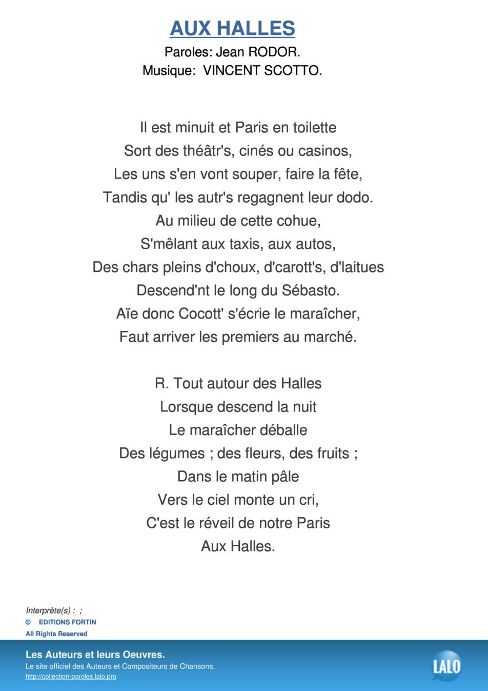 Paroles Et Musique De Aux Halles - Lalo.pro avec Chanson Sur Les Fruits Et Légumes