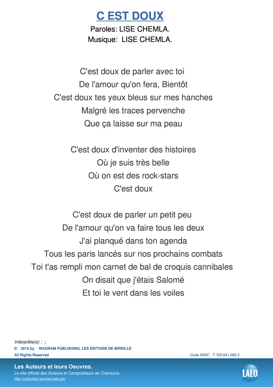 Paroles Et Musique De C Est Doux - Lalo.pro encequiconcerne Le Vent Dans Les Voiles Chanson