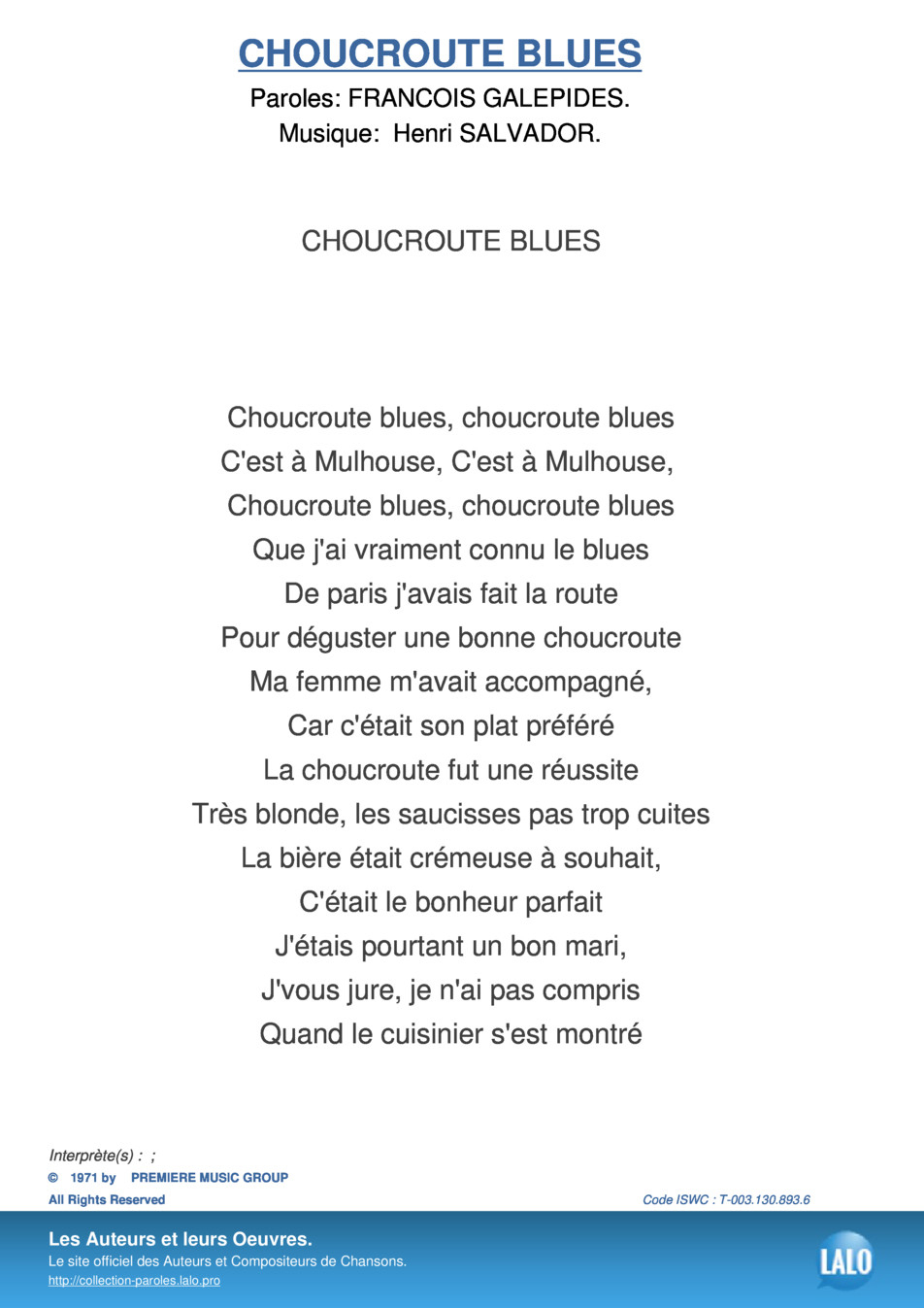 Paroles Et Musique De Choucroute Blues - Lalo.pro tout Chanson A Imprimer