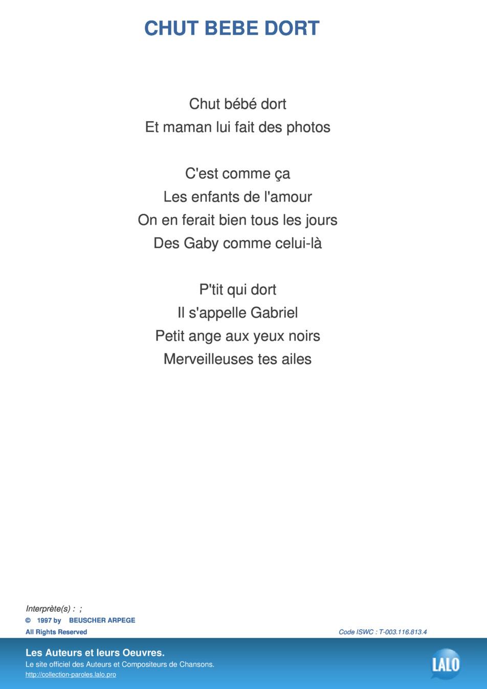 Paroles Et Musique De Chut Bebe Dort - Lalo.pro pour Image Chut Bébé Dort