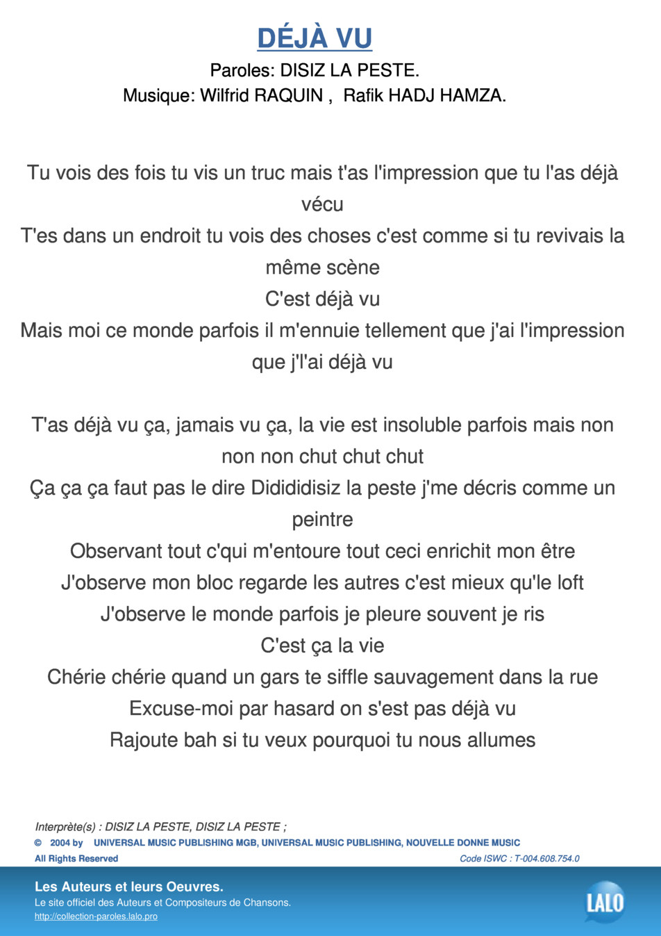 Paroles Et Musique De Deja Vu Disiz La Peste - Lalo.pro dedans L As Tu Vu Paroles