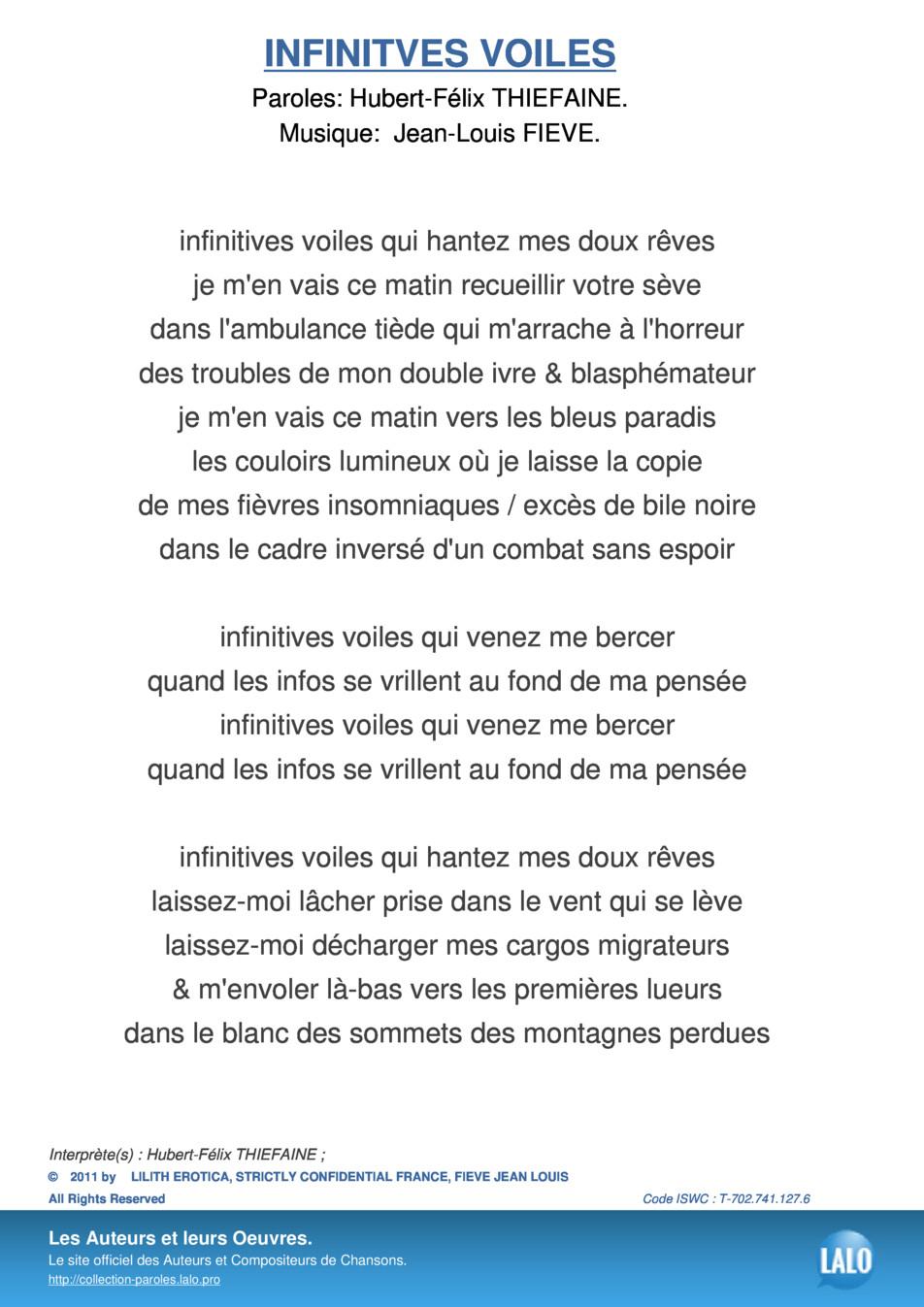 Paroles Et Musique De Infinitves Voiles Hubert-Félix serapportantà Le Vent Dans Les Voiles Chanson