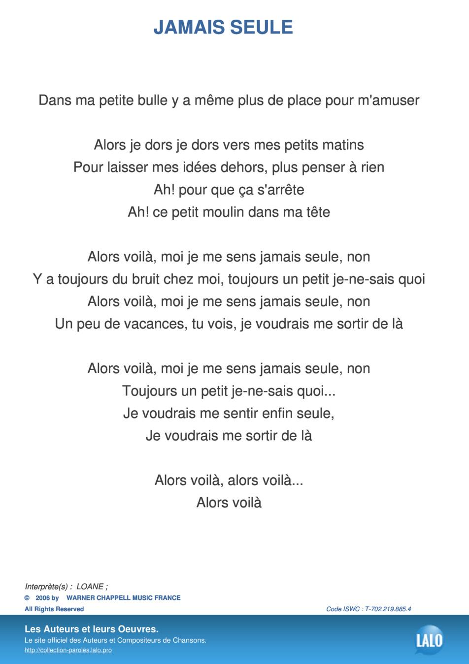Paroles Et Musique De Jamais Seule Loane - Lalo.pro encequiconcerne Petit Moulin Chanson