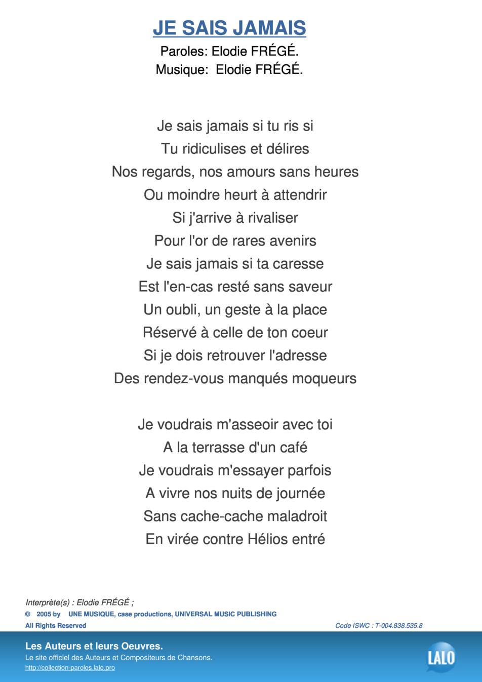 Paroles Et Musique De Je Sais Jamais Elodie Frégé - Lalo.pro tout Retrouver Une Musique Avec Parole