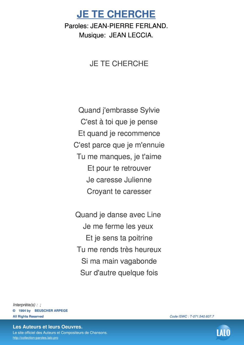 Paroles Et Musique De Je Te Cherche - Lalo.pro encequiconcerne Retrouver Une Musique Avec Parole