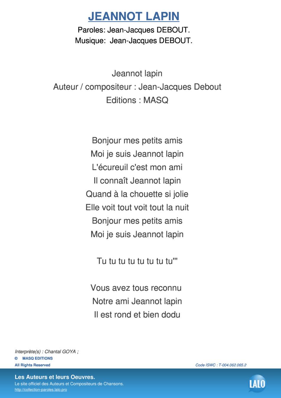 Paroles Et Musique De Jeannot Lapin Chantal Goya - Lalo.pro encequiconcerne Chanson Enfant Lapin