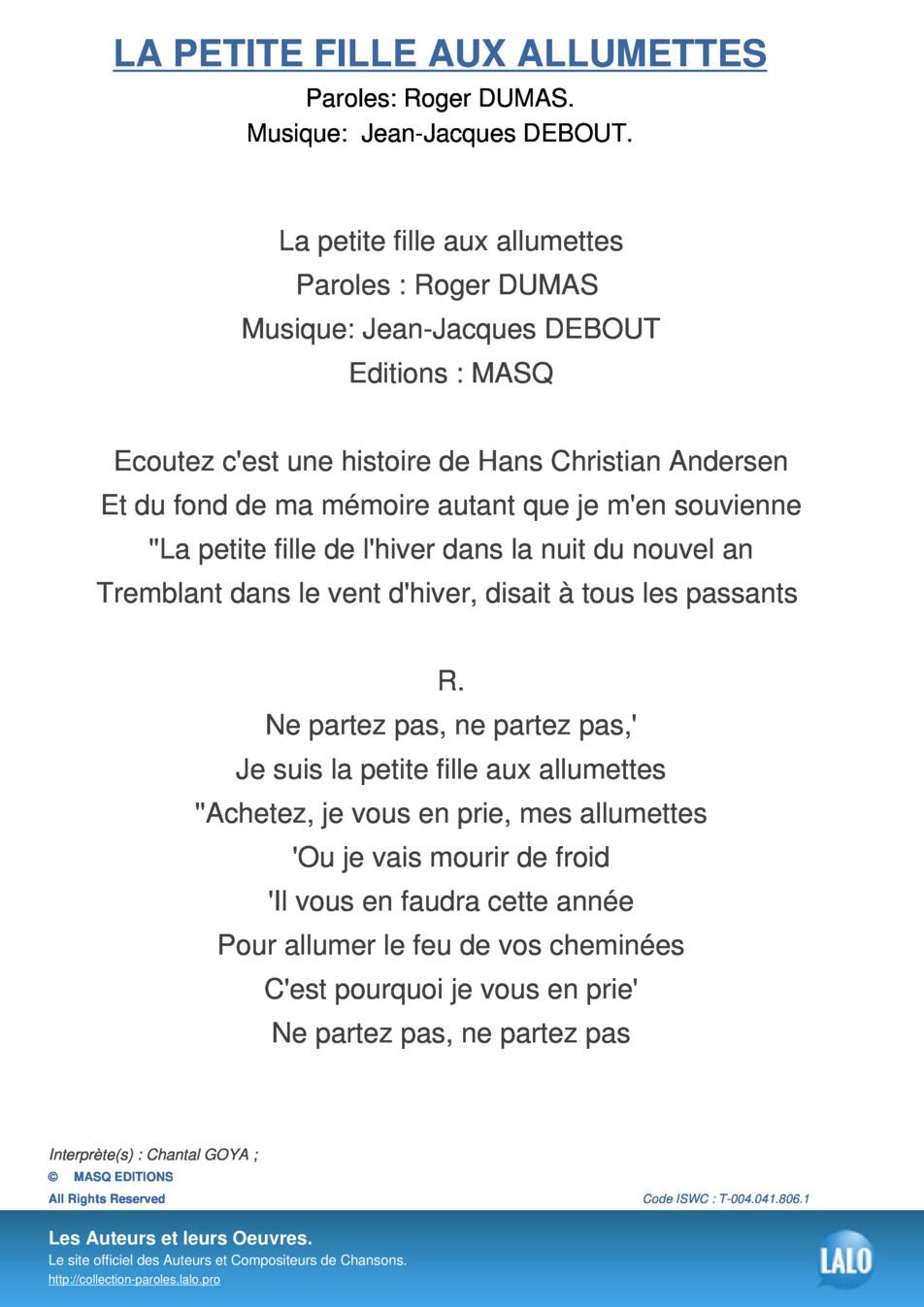 Paroles Et Musique De La Petite Fille Aux Allumettes Chantal serapportantà Dans La Nuit De L Hiver Chanson