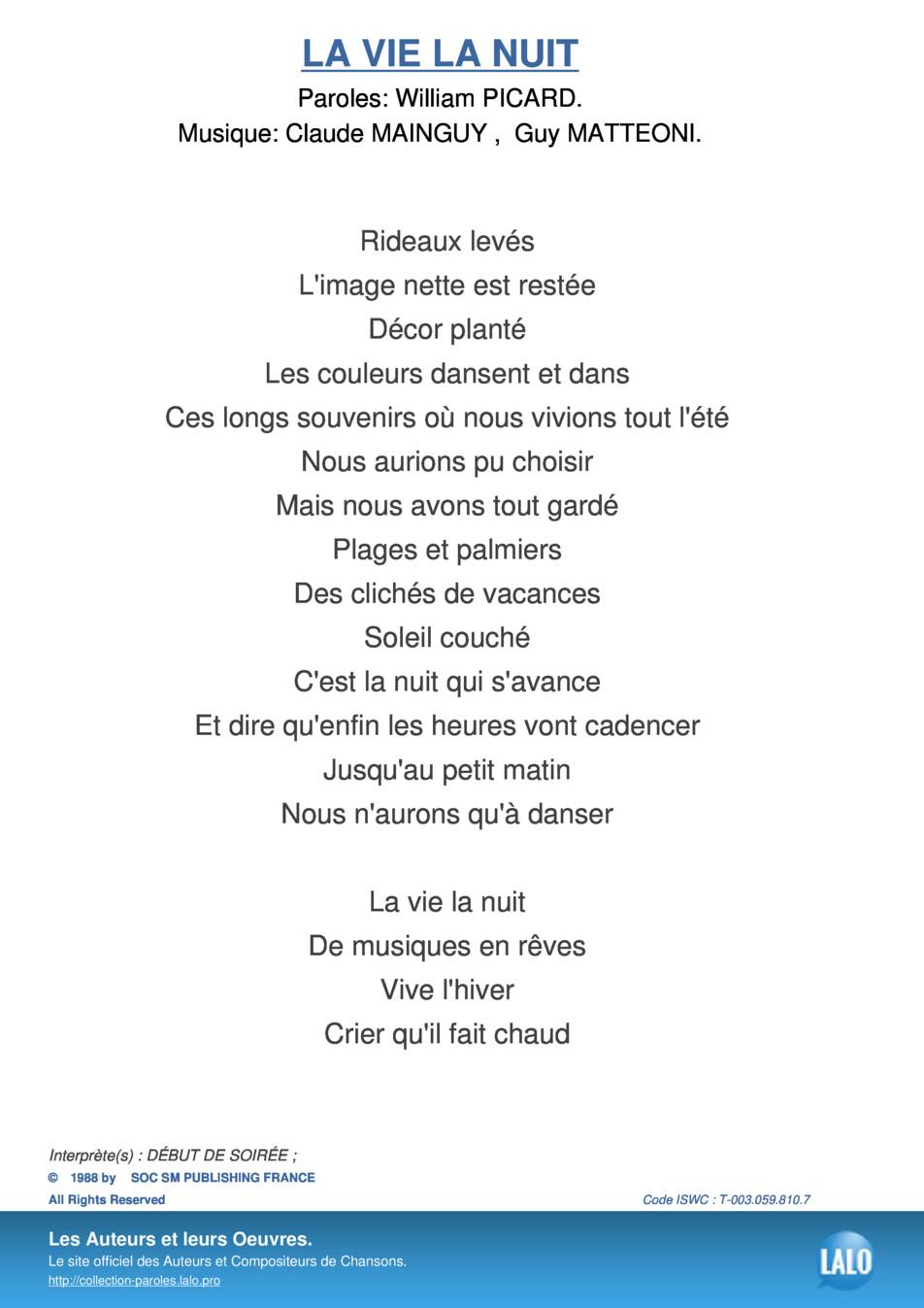 Paroles Et Musique De La Vie La Nuit Début De Soirée - Lalo.pro concernant Dans La Nuit De L Hiver Chanson
