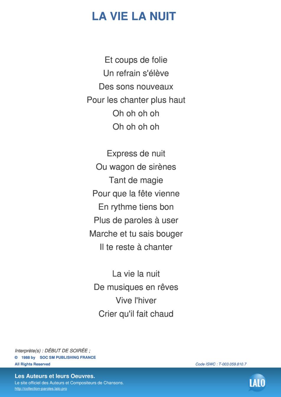 Paroles Et Musique De La Vie La Nuit Début De Soirée - Lalo.pro tout Dans La Nuit De L Hiver Chanson