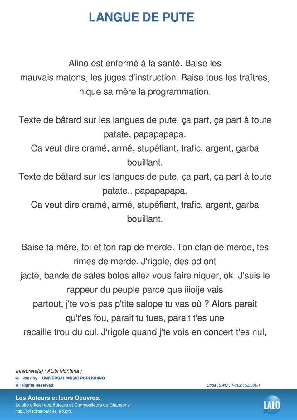 Paroles Et Musique De Langue De Pute Alibi Montana - Lalo.pro pour Chanson De La Patate