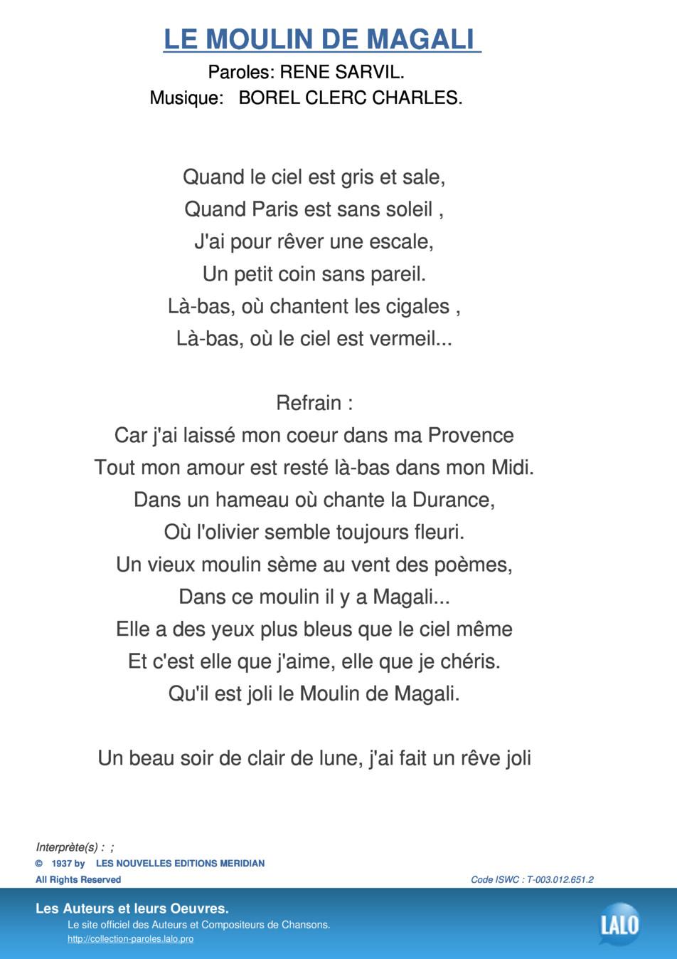 Paroles Et Musique De Le Moulin De Magali - Lalo.pro destiné Petit Moulin Chanson