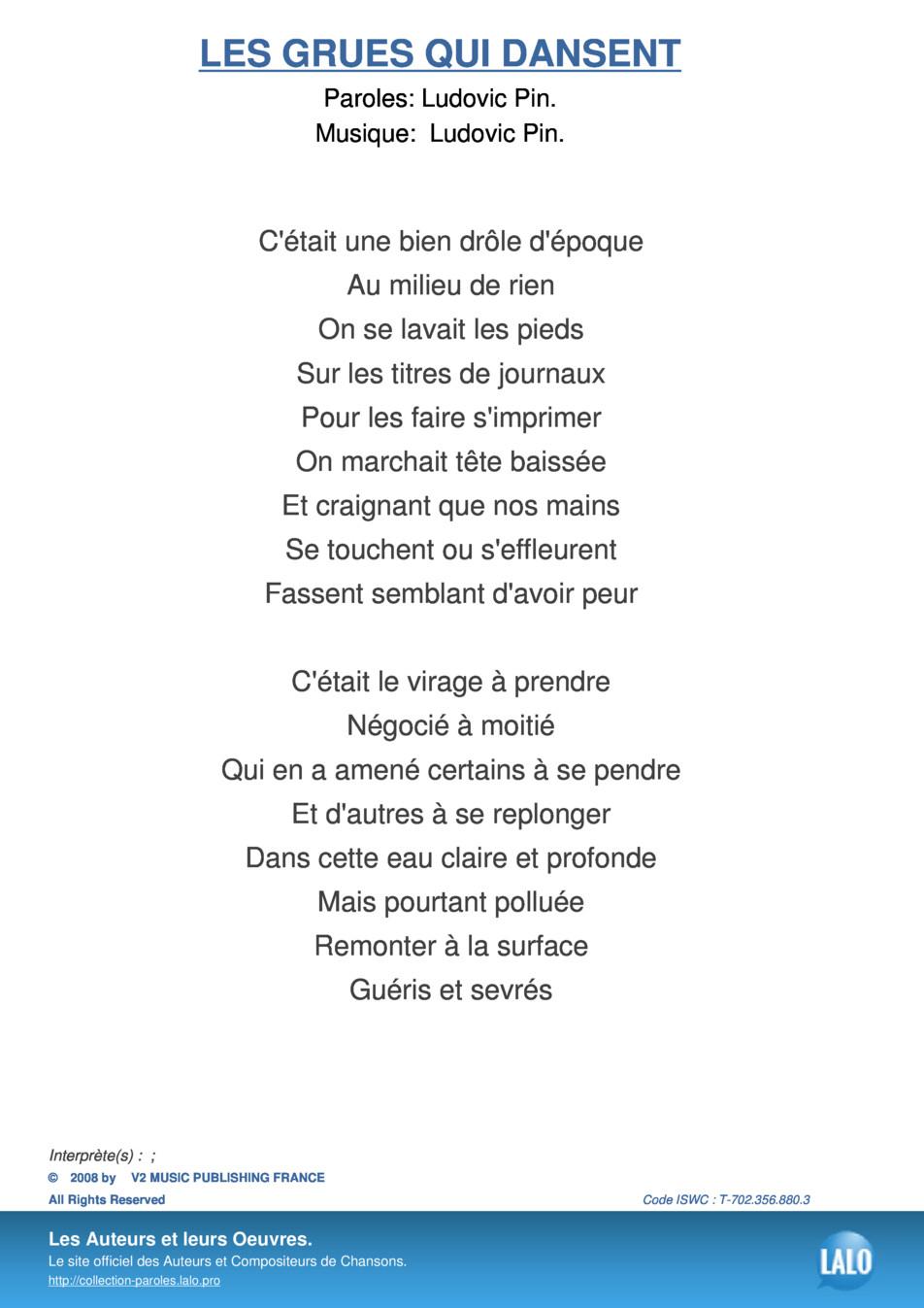 Paroles Et Musique De Les Grues Qui Dansent - Lalo.pro intérieur Chanson A Imprimer