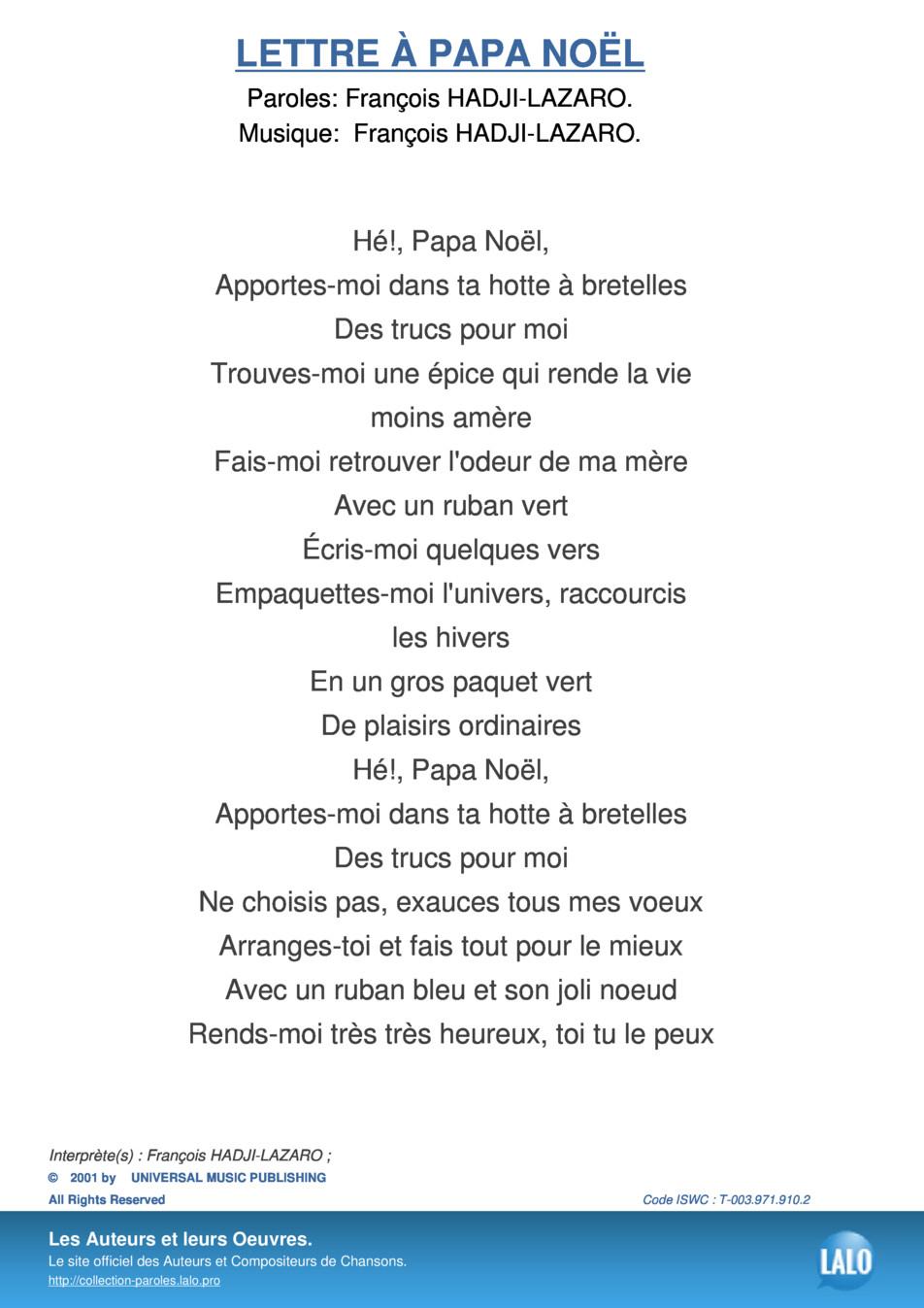 Paroles Et Musique De Lettre A Papa Noel François Hadji dedans Papa Noel Parole