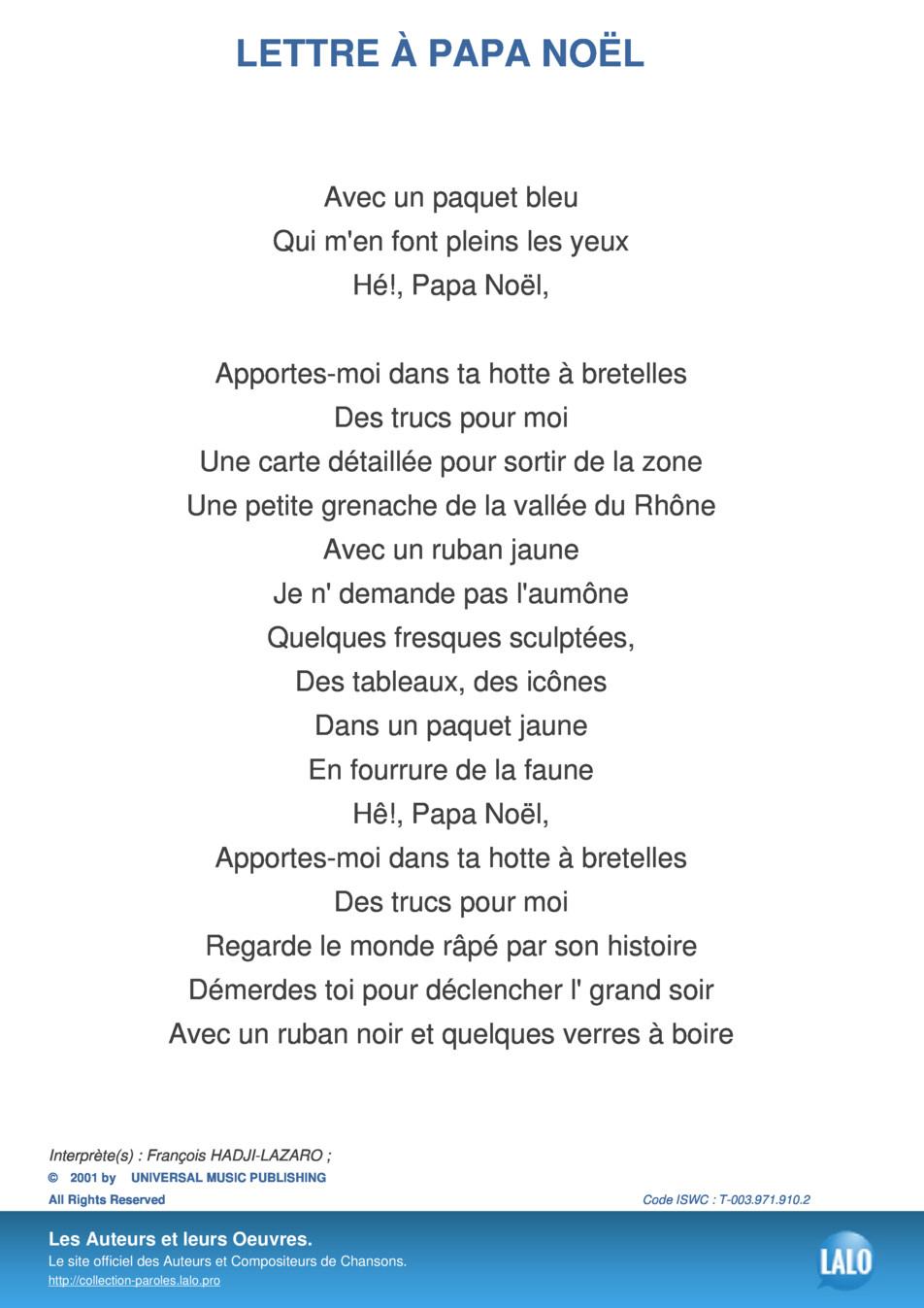 Paroles Et Musique De Lettre A Papa Noel François Hadji destiné Papa Noel Parole