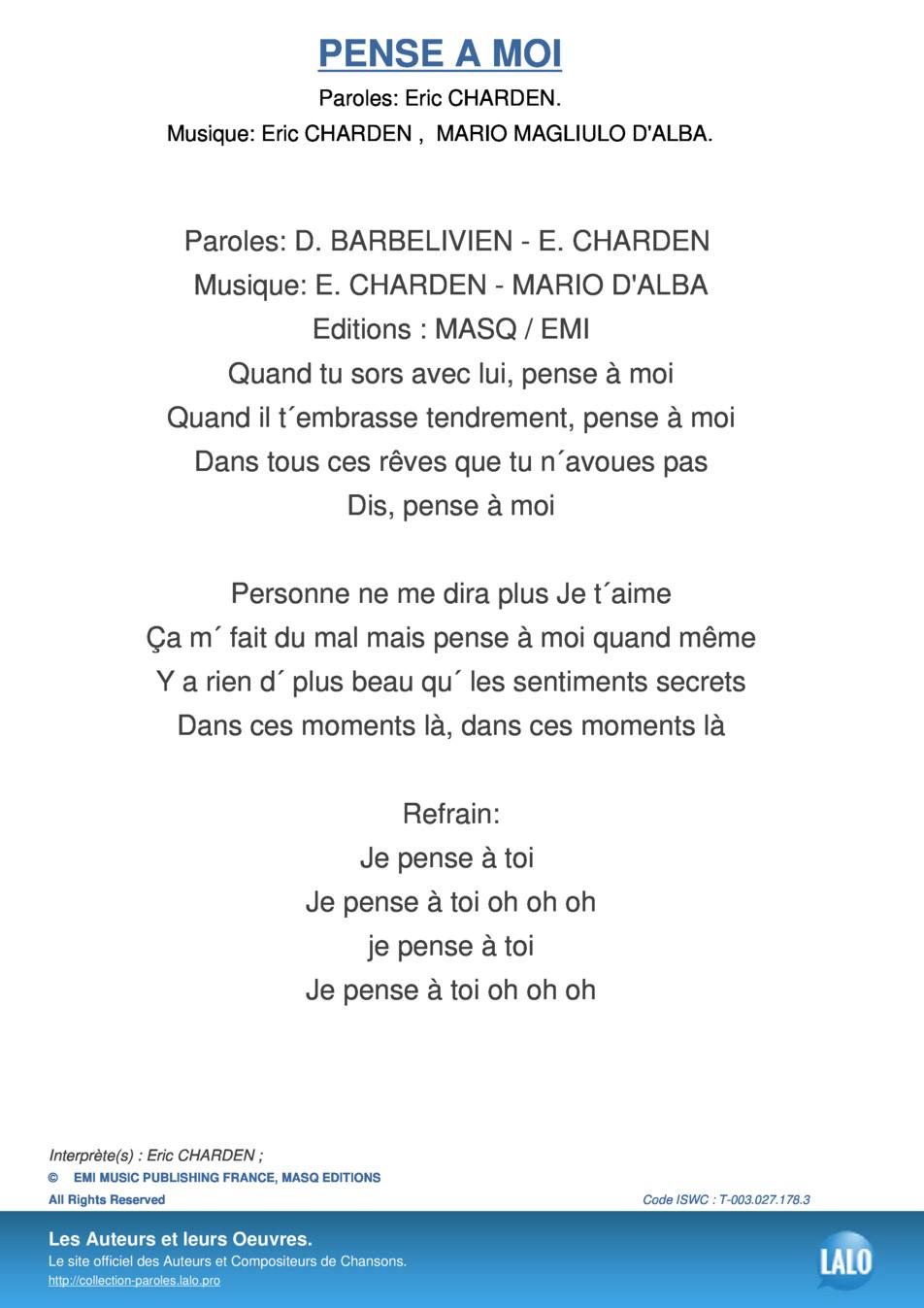 Paroles Et Musique De Pense A Moi Eric Charden - Lalo.pro avec Chanson Pense À Moi