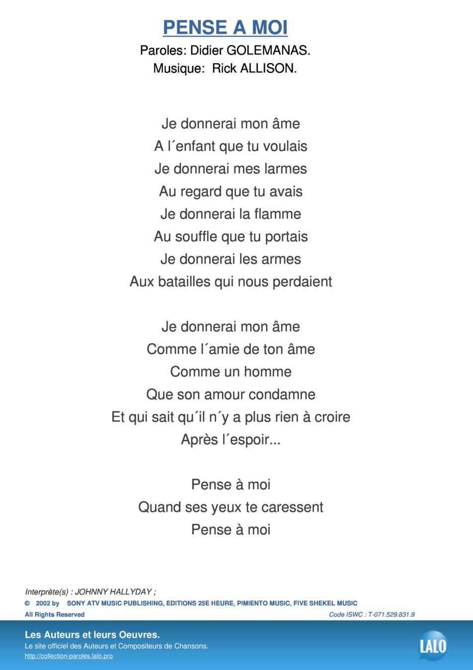 Paroles Et Musique De Pense A Moi Johnny Hallyday - Lalo.pro tout Chanson Pense À Moi