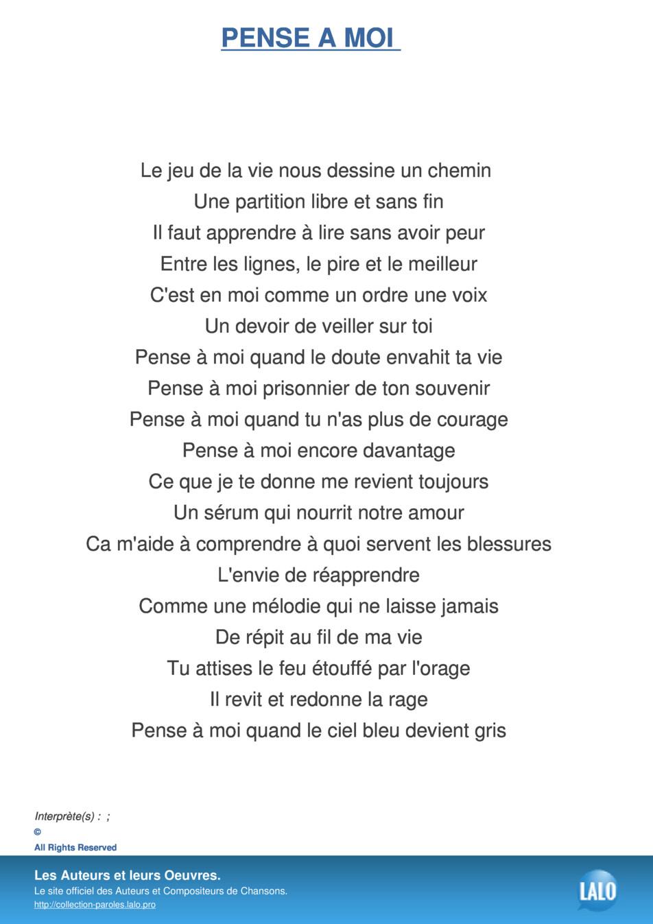 Paroles Et Musique De Pense A Moi - Lalo.pro destiné Chanson Pense À Moi