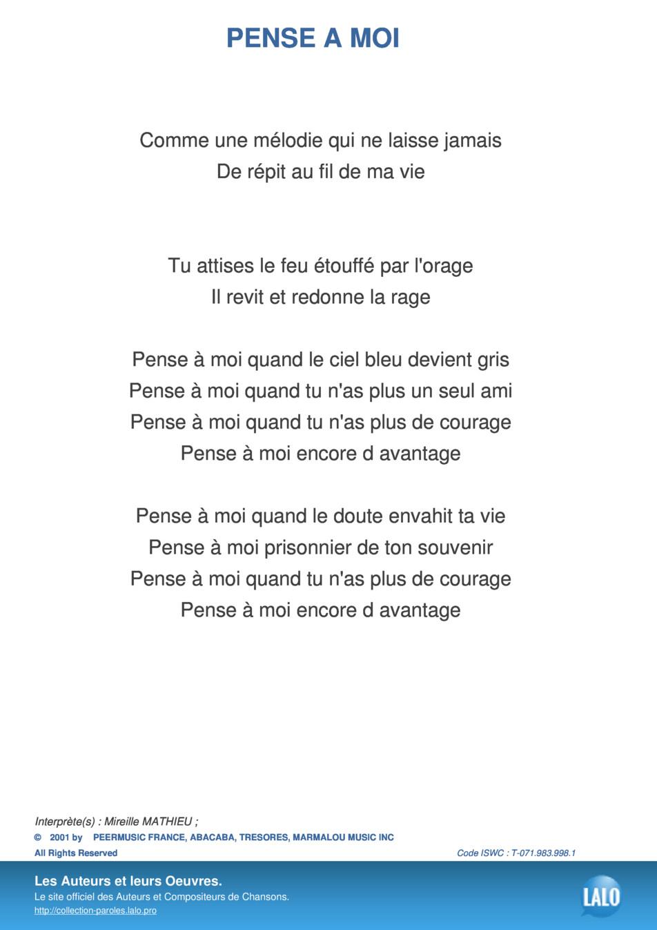 Paroles Et Musique De Pense A Moi Mireille Mathieu - Lalo.pro dedans Chanson Pense À Moi