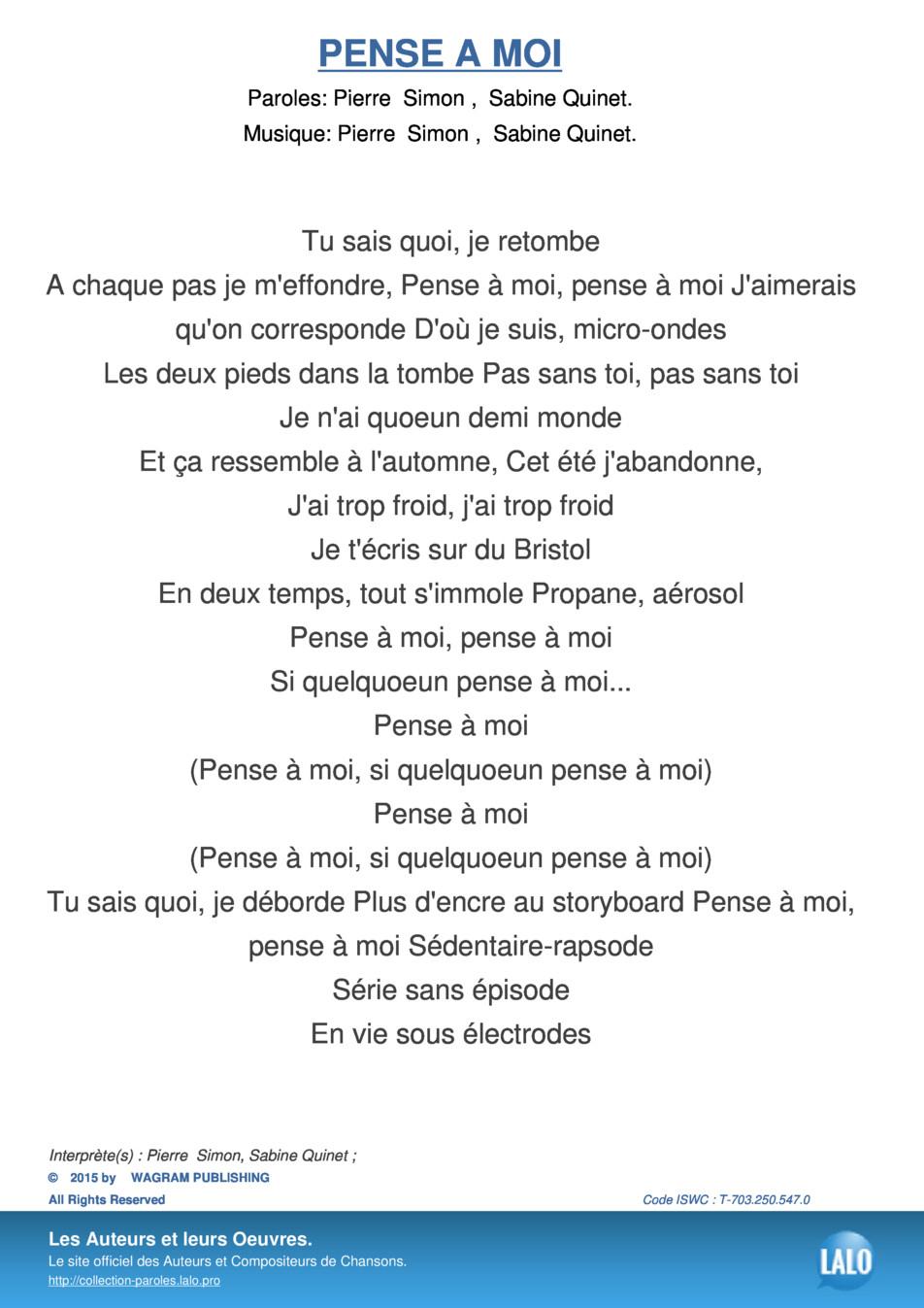 Paroles Et Musique De Pense A Moi Pierre Simon - Lalo.pro serapportantà Chanson Pense À Moi