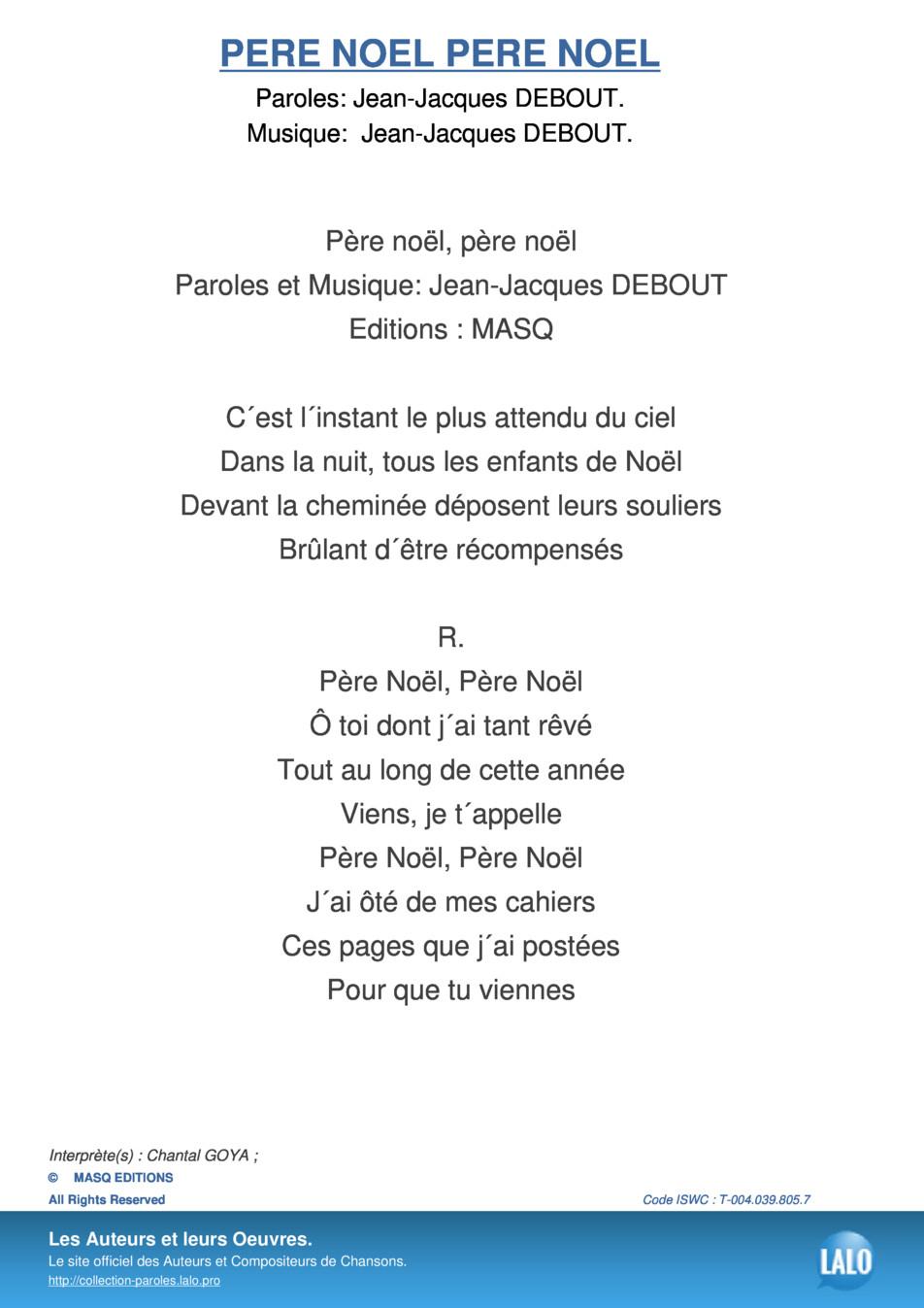 Paroles Et Musique De Pere Noel Pere Noel Chantal Goya destiné Musique Du Père Noël