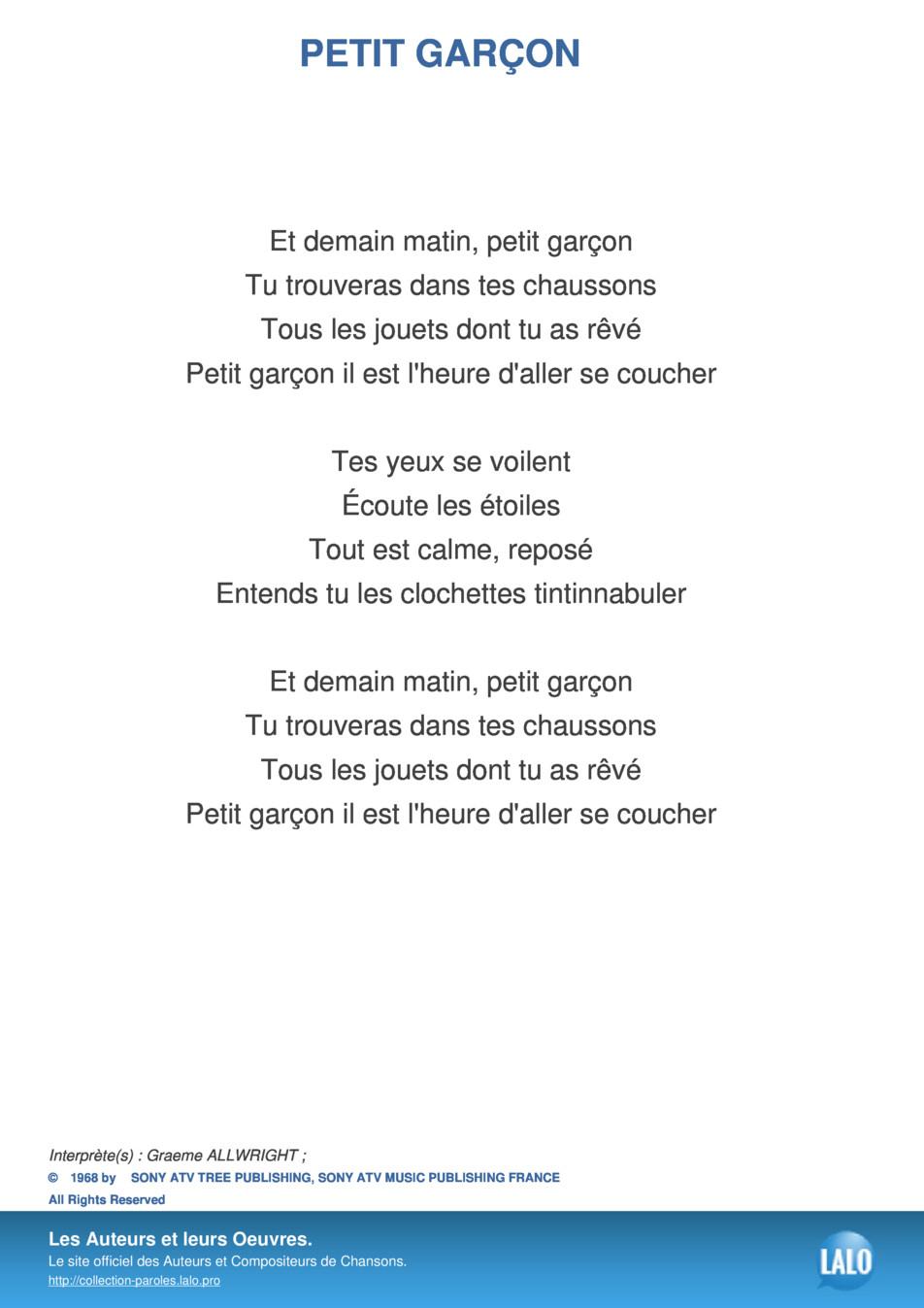 Paroles Et Musique De Petit Garcon Graeme Allwright - Lalo.pro dedans Chanson Dans Son Manteau Rouge Et Blanc
