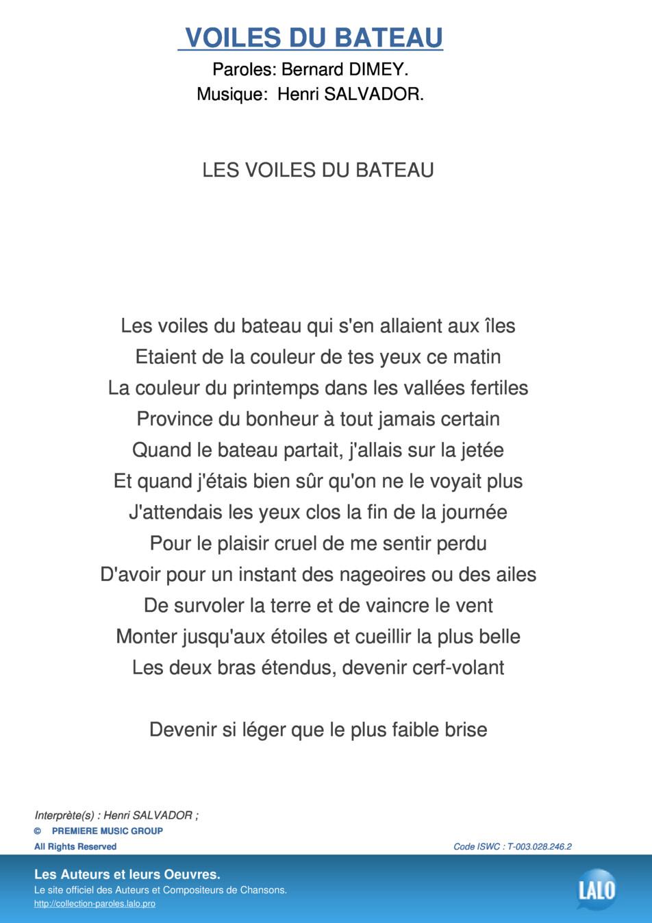 Paroles Et Musique De Voiles Du Bateau Henri Salvador - Lalo.pro à Le Vent Dans Les Voiles Chanson