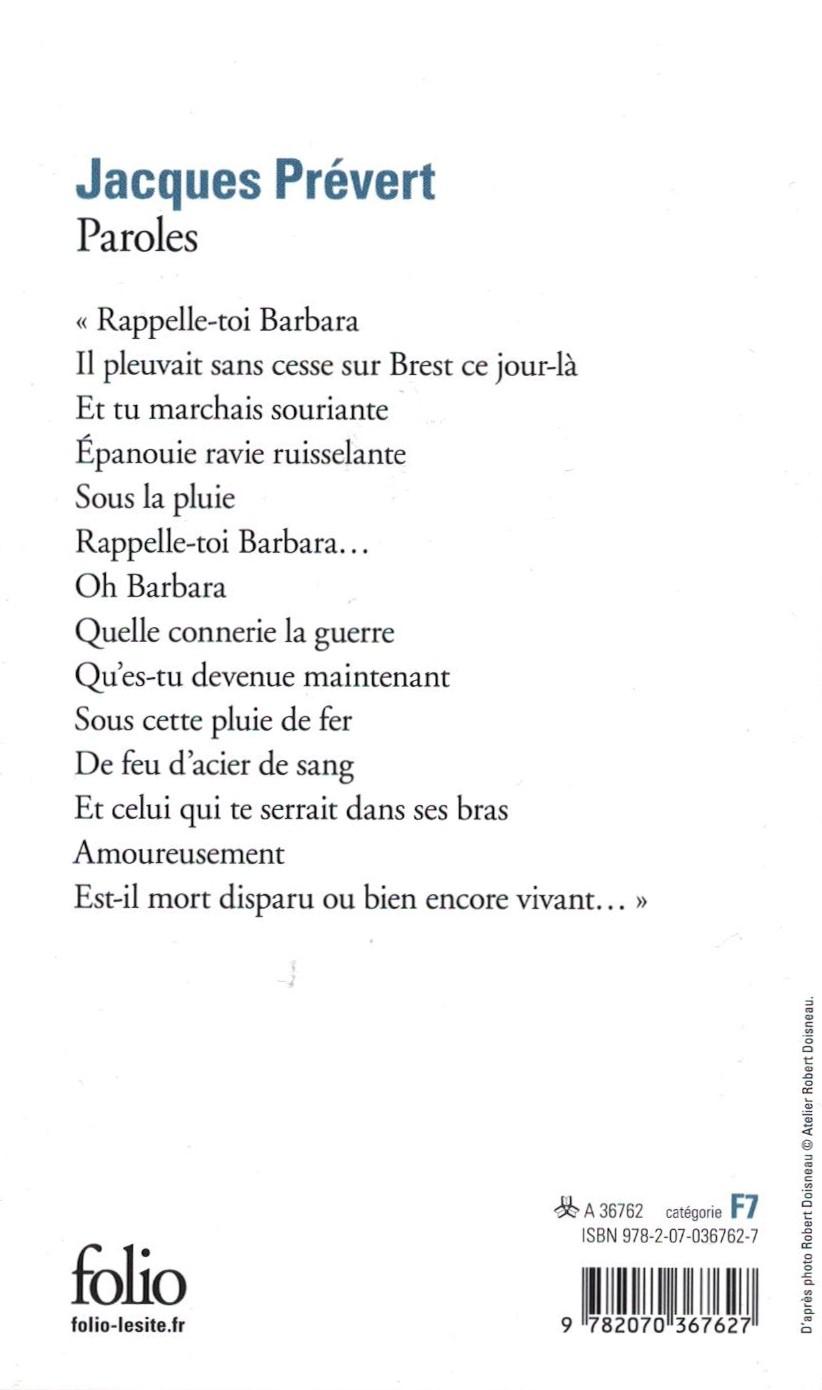 Paroles, Jacques Prévert, Gallimard Folio – La Magie Des tout Poeme De Jacque Prevert