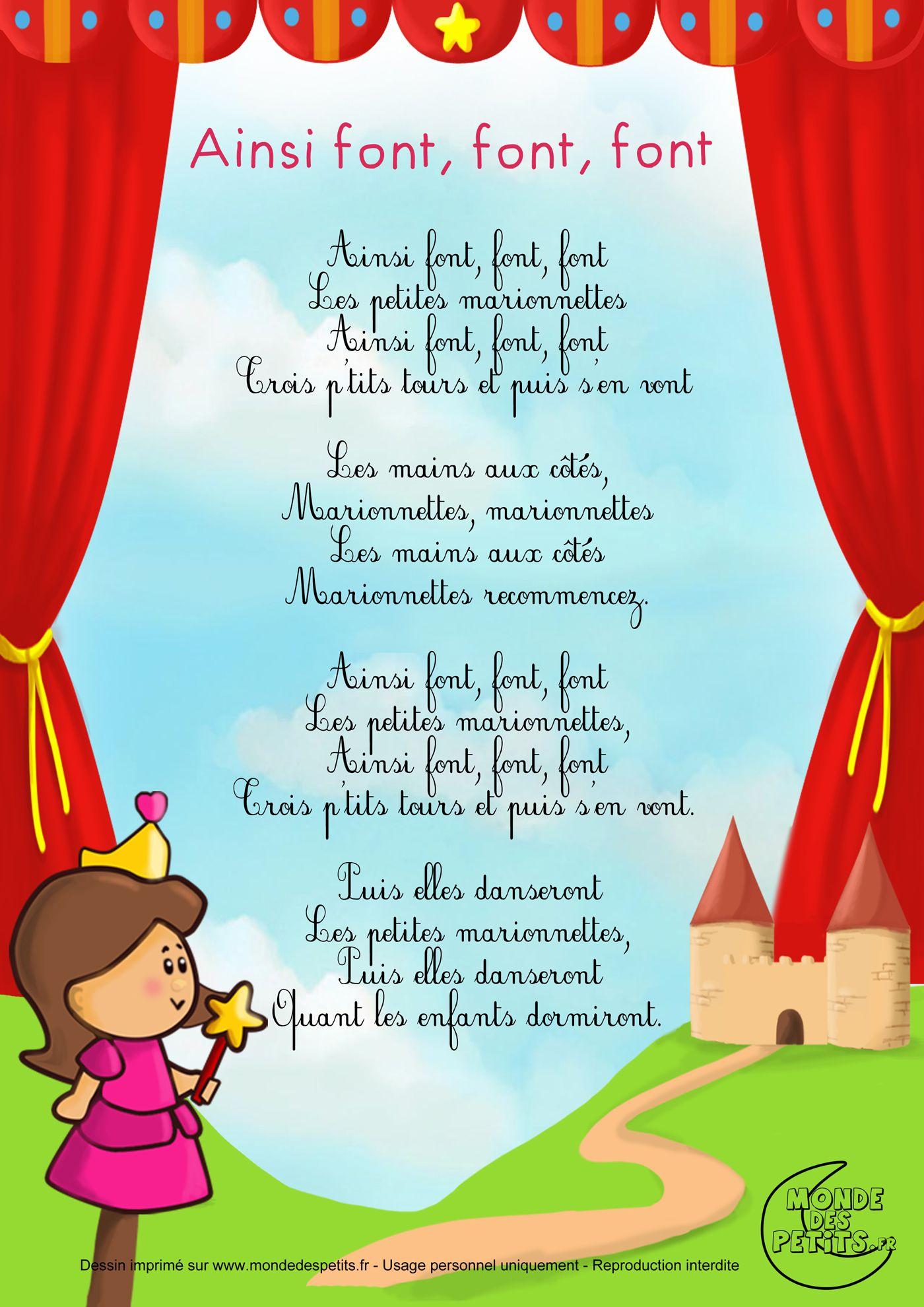 Paroles_Ainsi Font, Font, Font, Les Petites Marionnettes encequiconcerne Les Petites Marionnettes Chanson