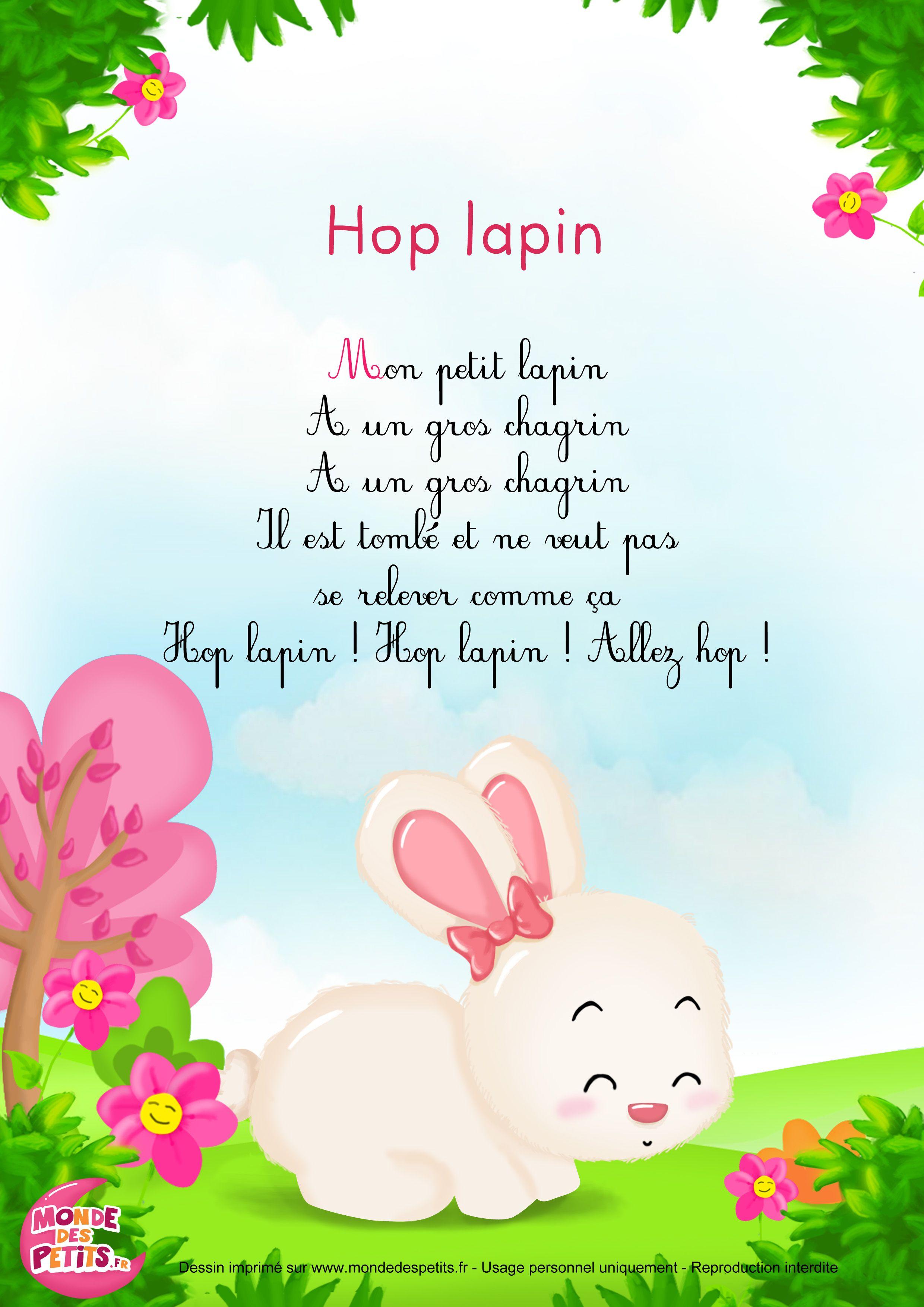 Paroles_Hop Lapin - Comptine Pour Les Petits   Comptines intérieur Chanson Enfant Lapin