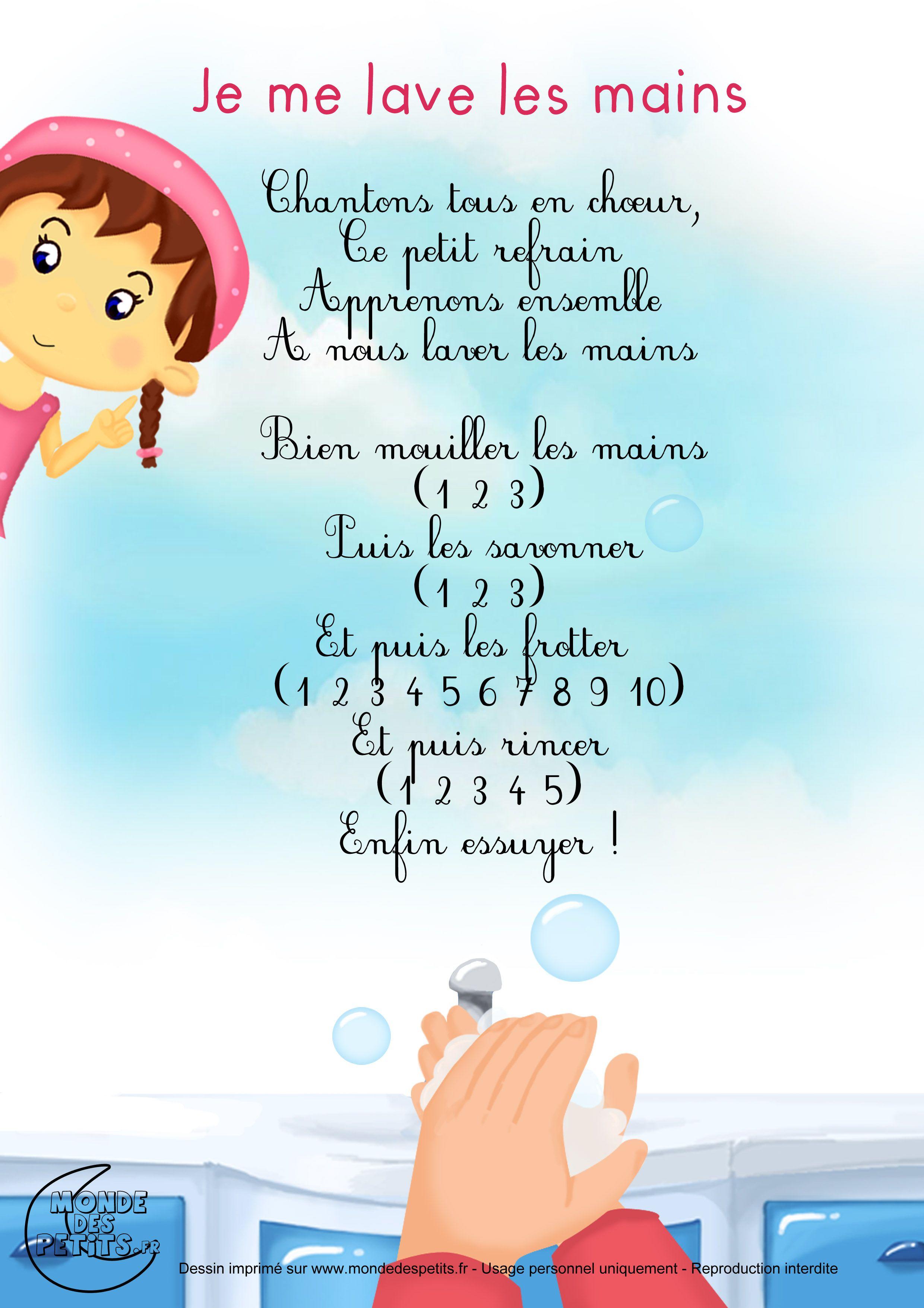 Paroles_Je Me Lave Les Mains | Comptines, Chansons Comptines serapportantà Chanson Pour Bebe 1 An
