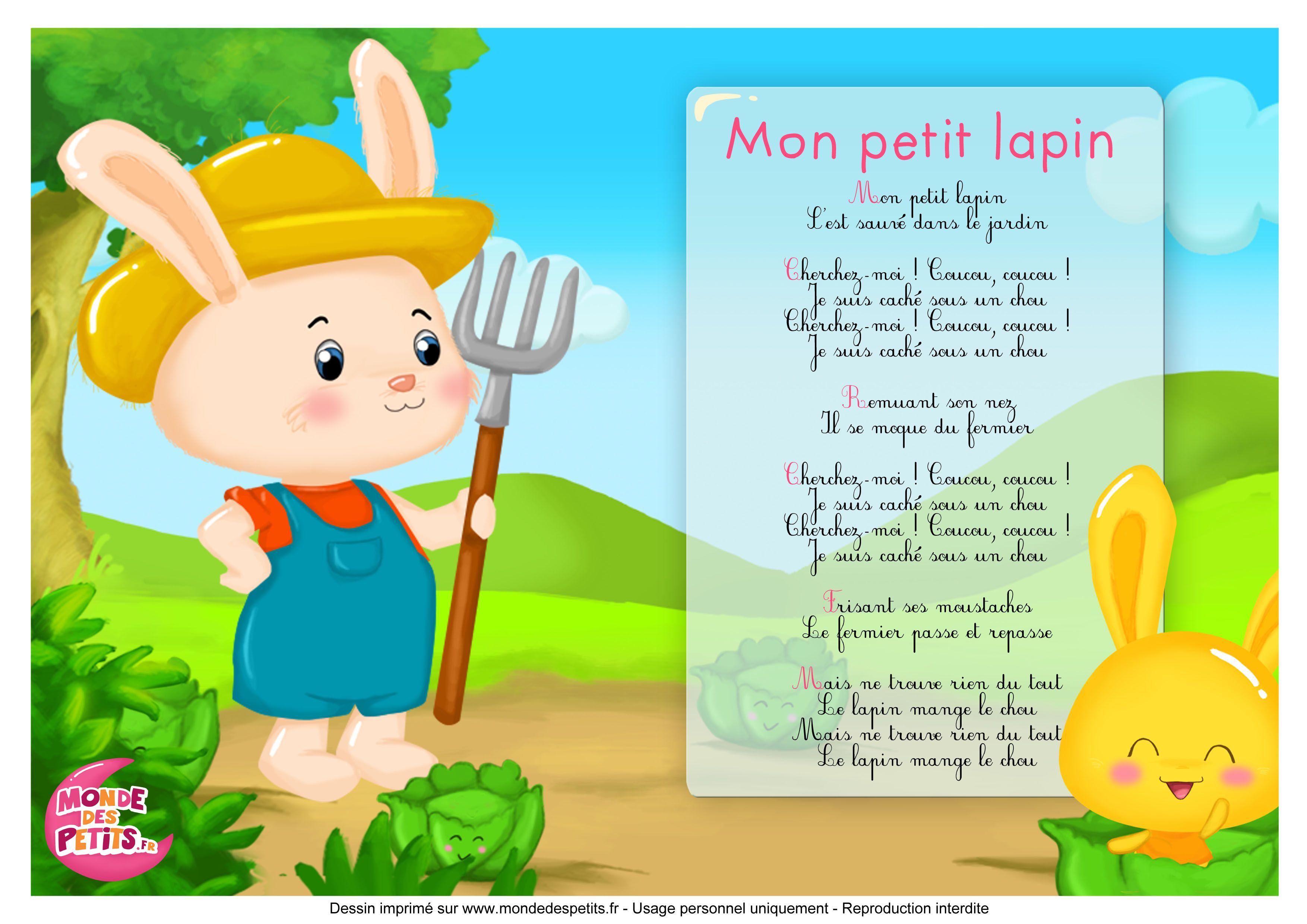 Paroles_Mon Petit Lapin - Les Titounis (Avec Images à Chanson Enfant Lapin