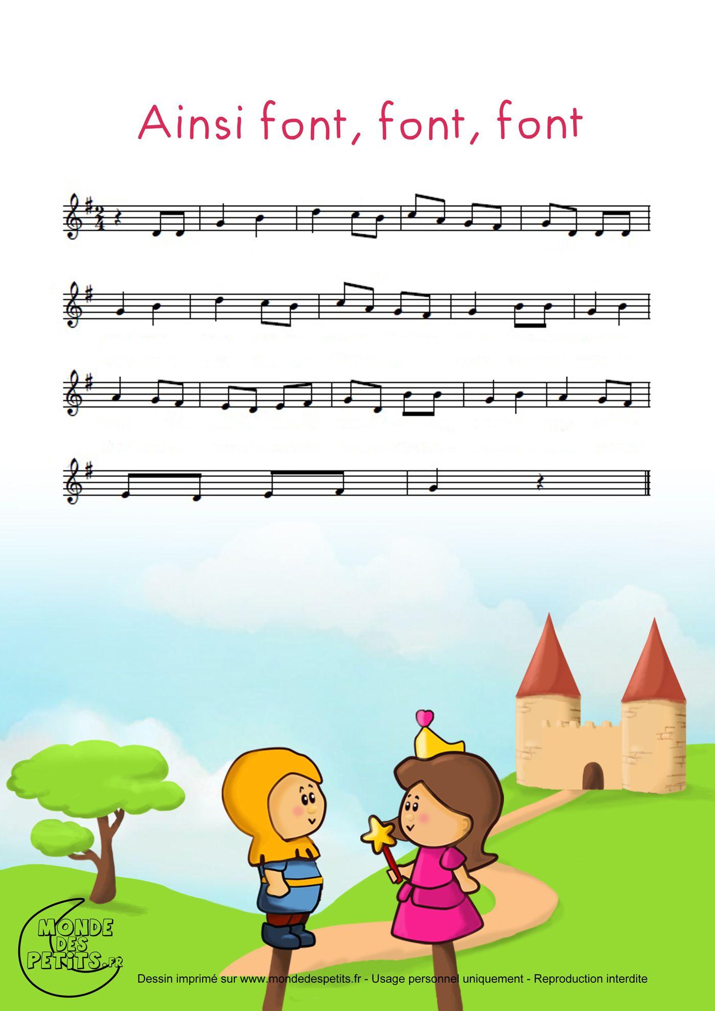 Partition_Ainsi Font, Font, Font, Les Petites Marionnettes intérieur Les Petites Marionnettes Chanson