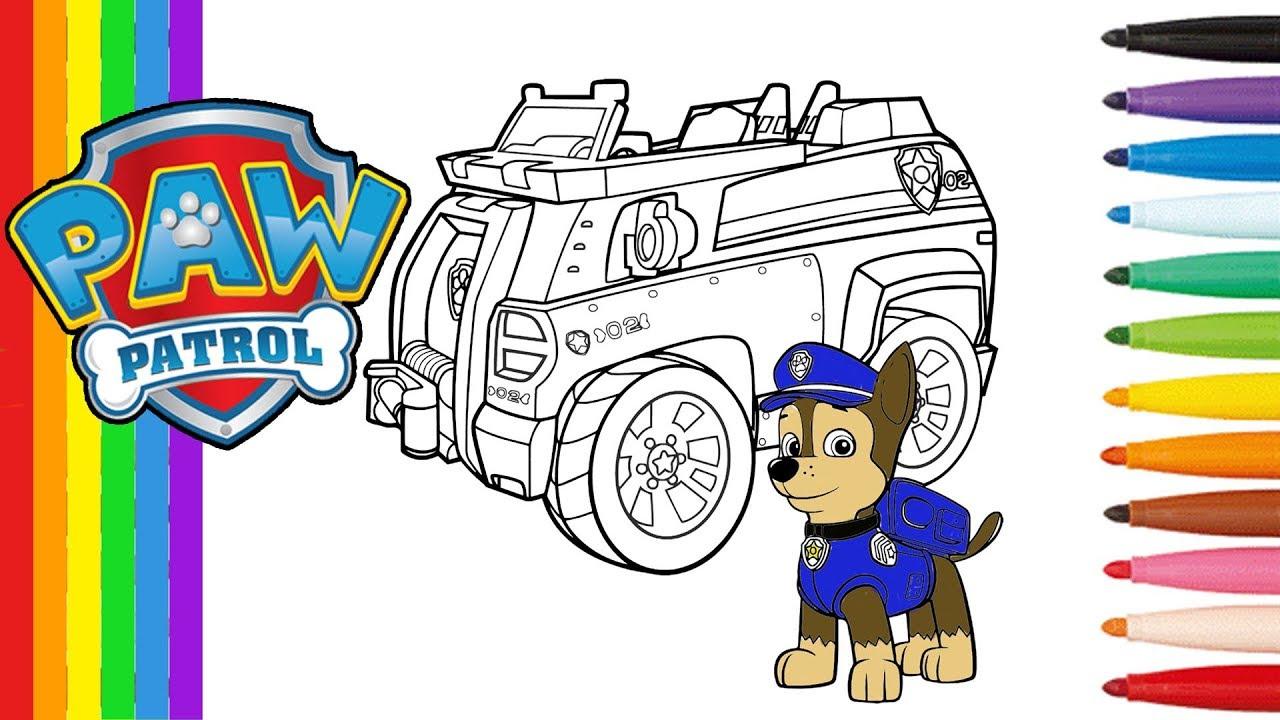Pat Patrouille Coloriage De Chase Et Sa Voiture - Paw Patrol Coloring Pages  Chase Vehicule destiné Coloriage Vehicule