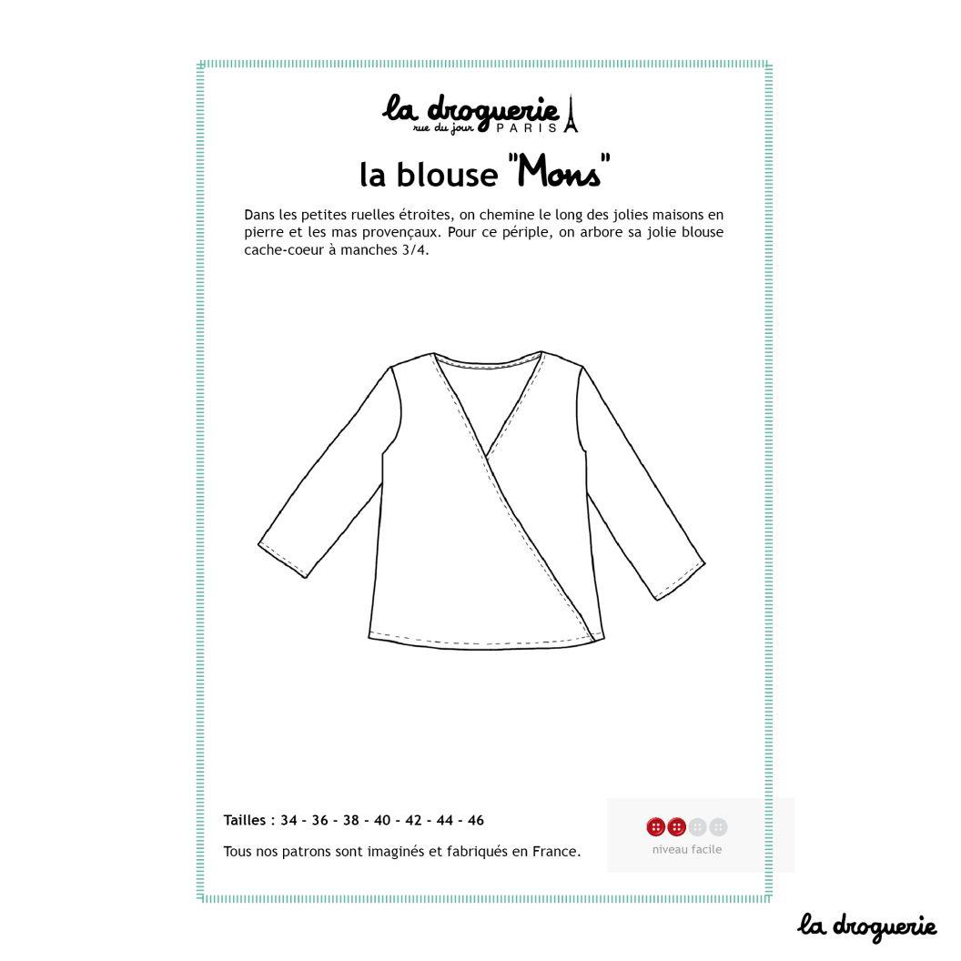 """Patron De La Blouse Cache-Coeur """"mons""""   Patron De Couture serapportantà Patron De Maison En Papier A Imprimer"""