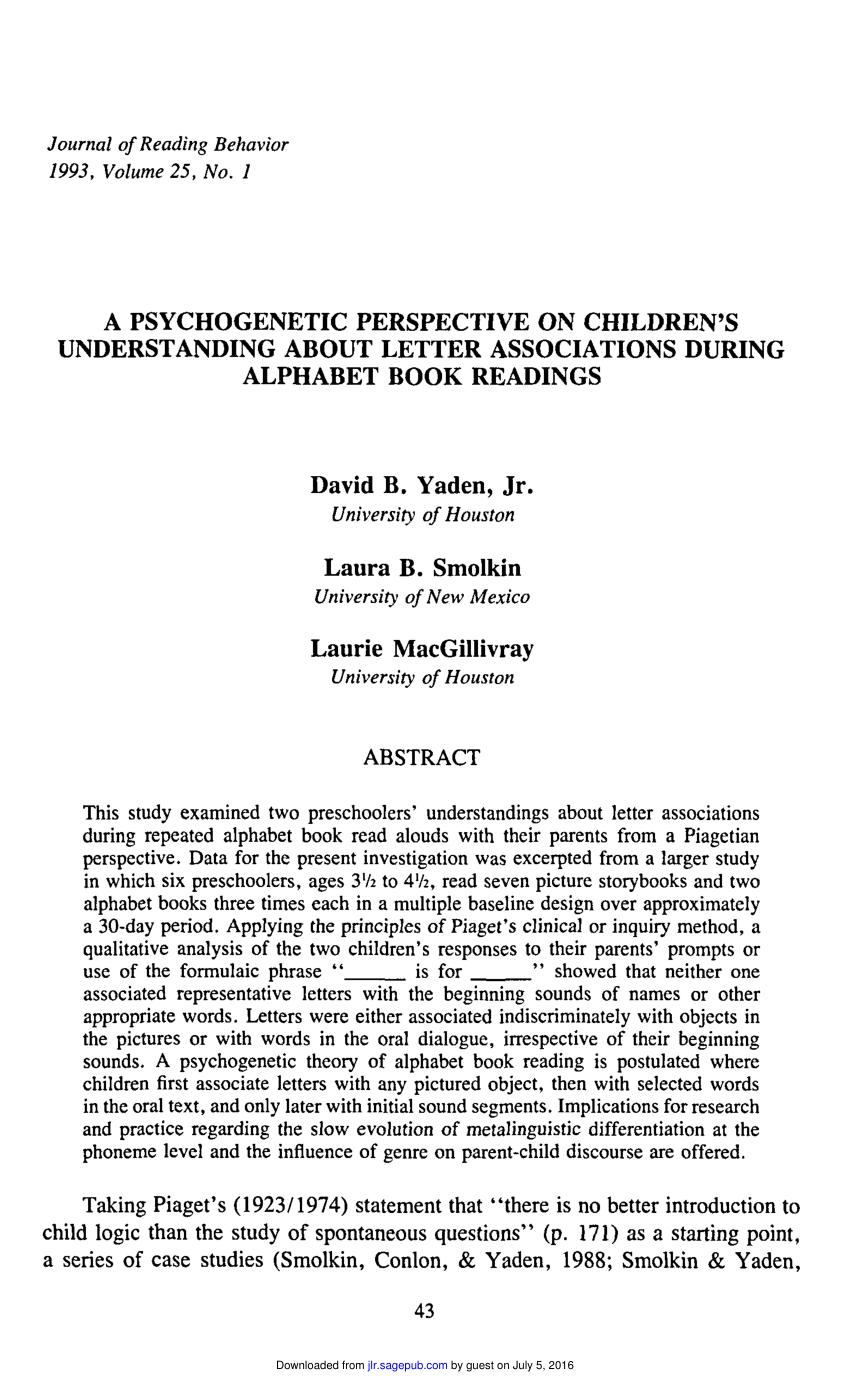 Pdf) A Psychogenetic Perspective On Children's Understanding tout Point À Relier Alphabet