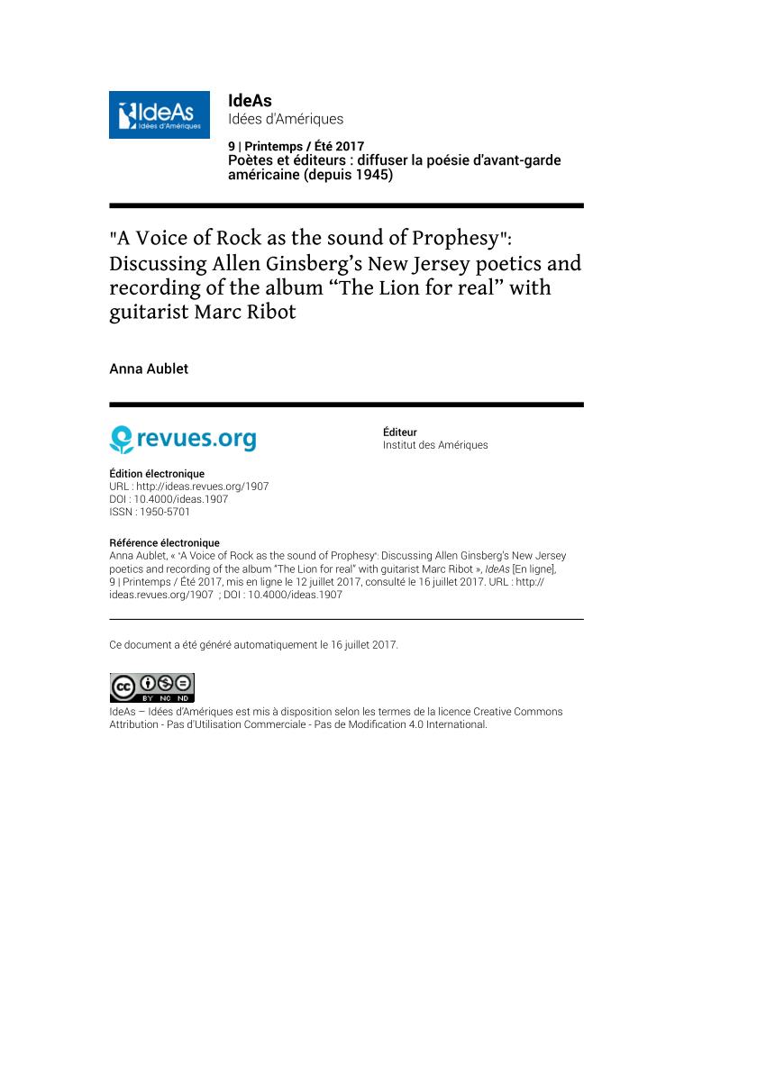 "Pdf) ""a Voice Of Rock As The Sound Of Prophesy"": Discussing encequiconcerne Album Printemps Gs"