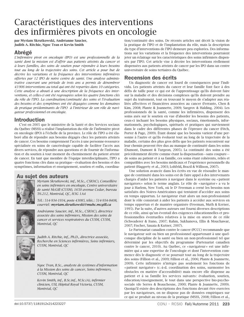 Pdf) Caractéristiques Des Interventions Des Infirmières concernant Caractéristiques De L Automne