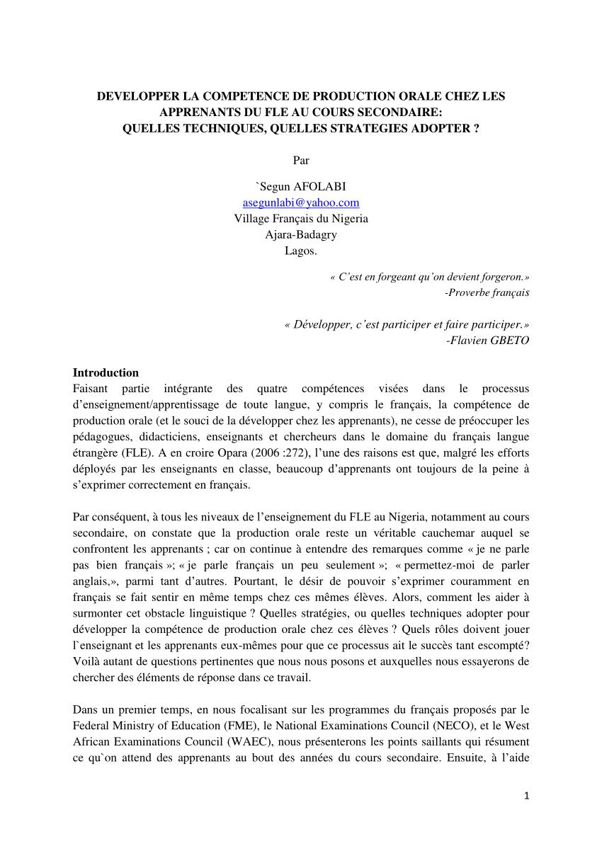 Pdf) Développer La Compétence De Production Orale Chez Les concernant Fiche Pédagogique Les 5 Sens