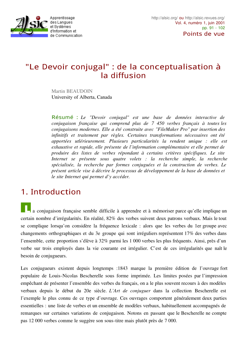 """Pdf) """"le Devoir Conjugal"""" : De La Conceptualisation À La dedans Verbe Moudre À L Imparfait"""