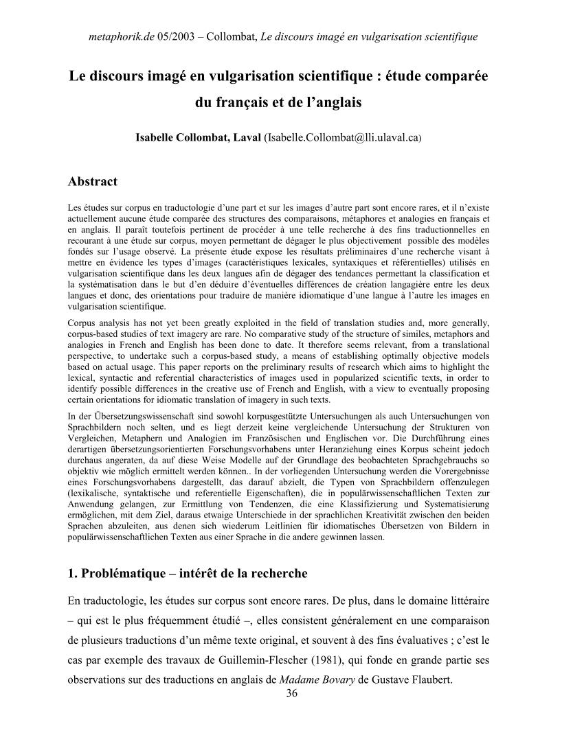 Pdf) Le Discours Imagé En Vulgarisation Scientifique : Étude dedans Grimper En Anglais