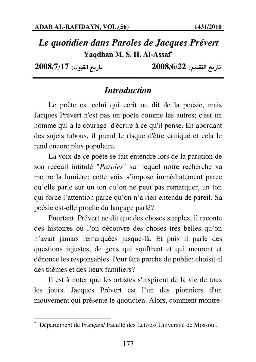 """Pdf) Le Quotidien Dans """"paroles"""" De Jacques Prévert. serapportantà Poeme De Jacque Prevert"""