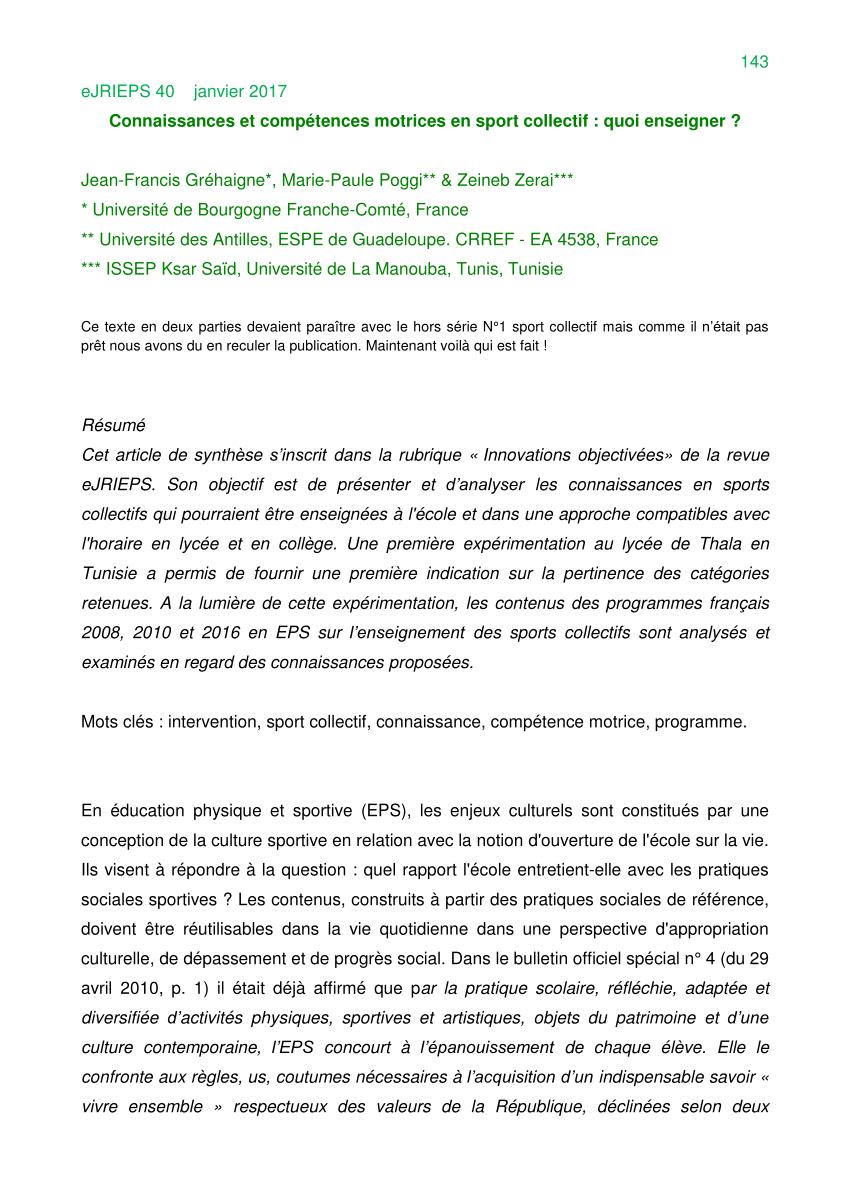 Pdf) L'enseignement Et L'apprentissage Des Connaissances Et avec Jeux Collectifs Cycle 3 Sans Ballon