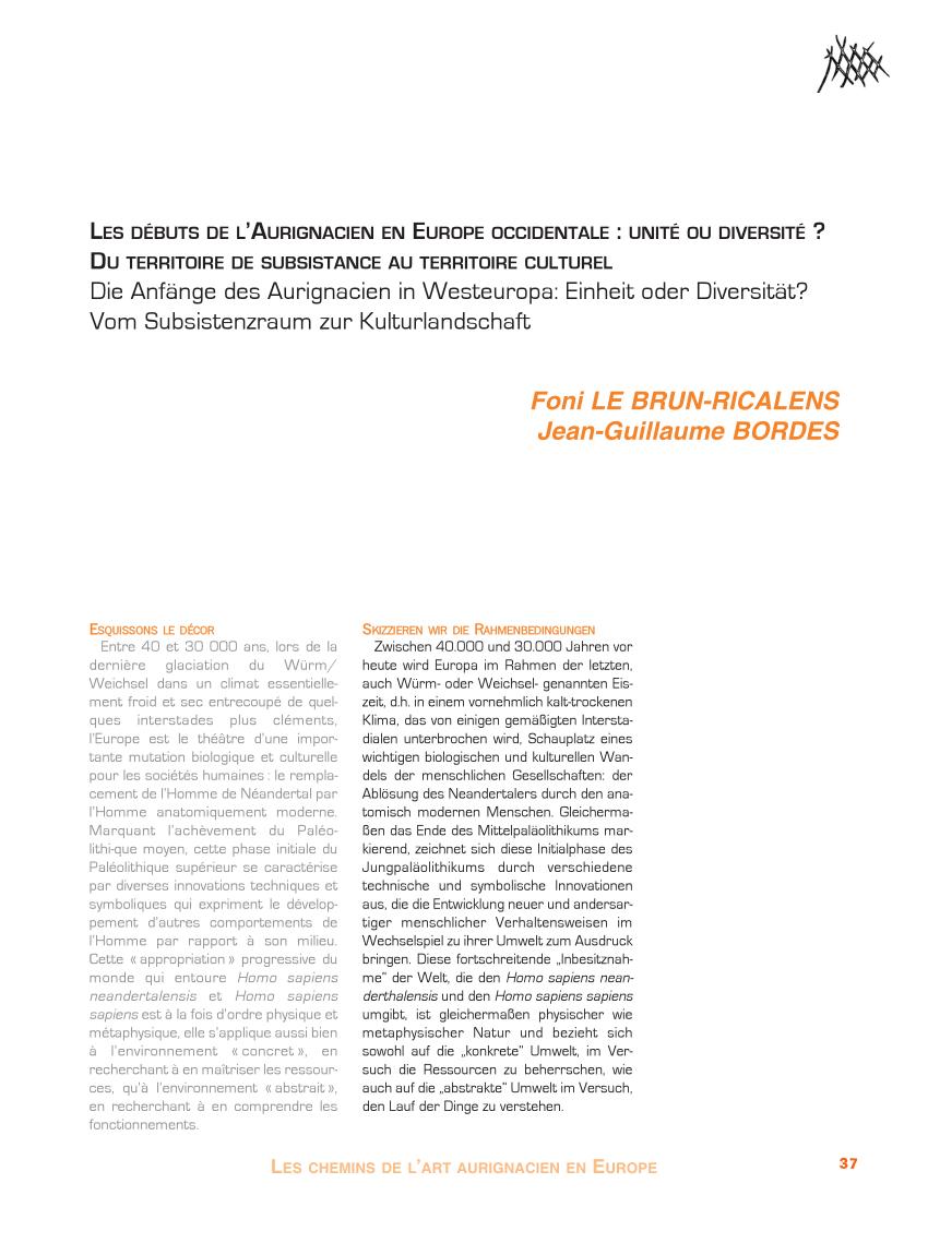 Pdf) Les Débuts De L'aurignacien En Europe Occidentale à Idées Activités Tap Primaire